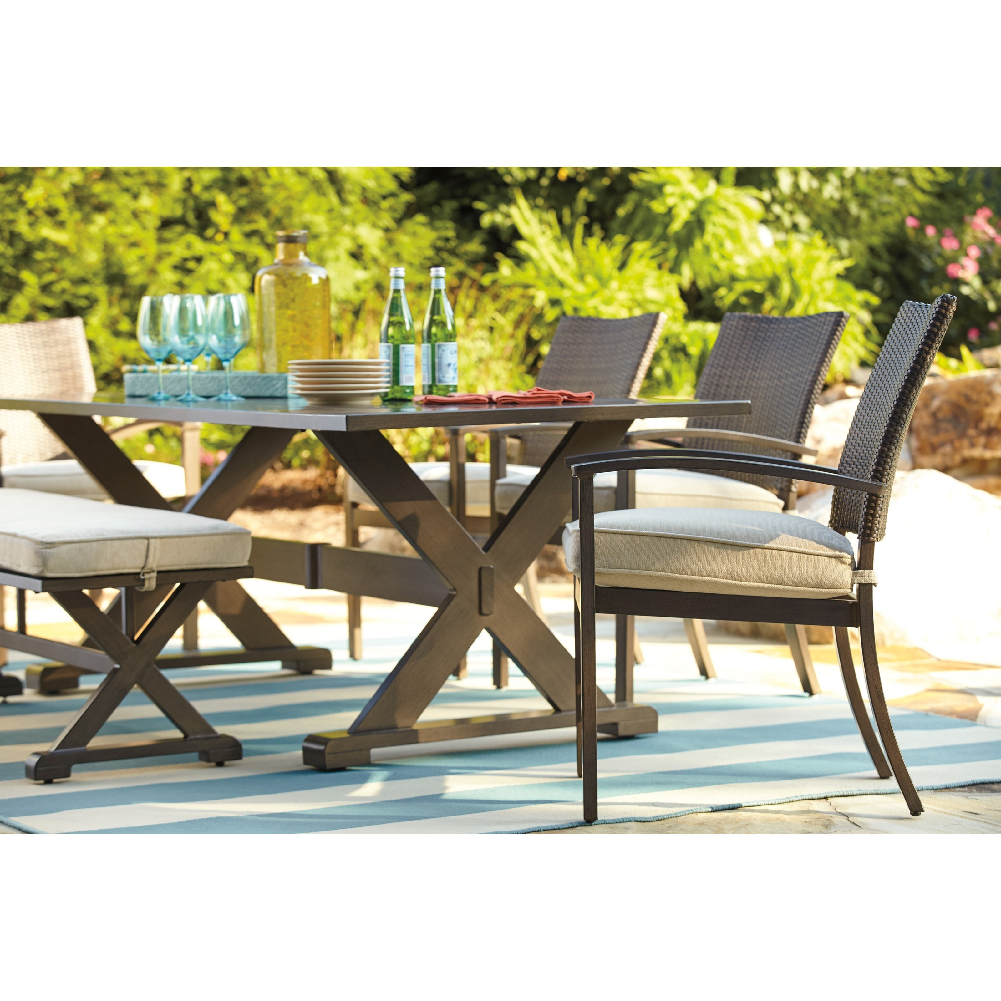 Signature Design by Ashley Moresdale Outdoor Dining Set with Bench Knight Furniture & Mattress