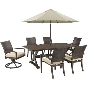 Signature Design by Ashley Moresdale Outdoor Dining Set with Umbrella