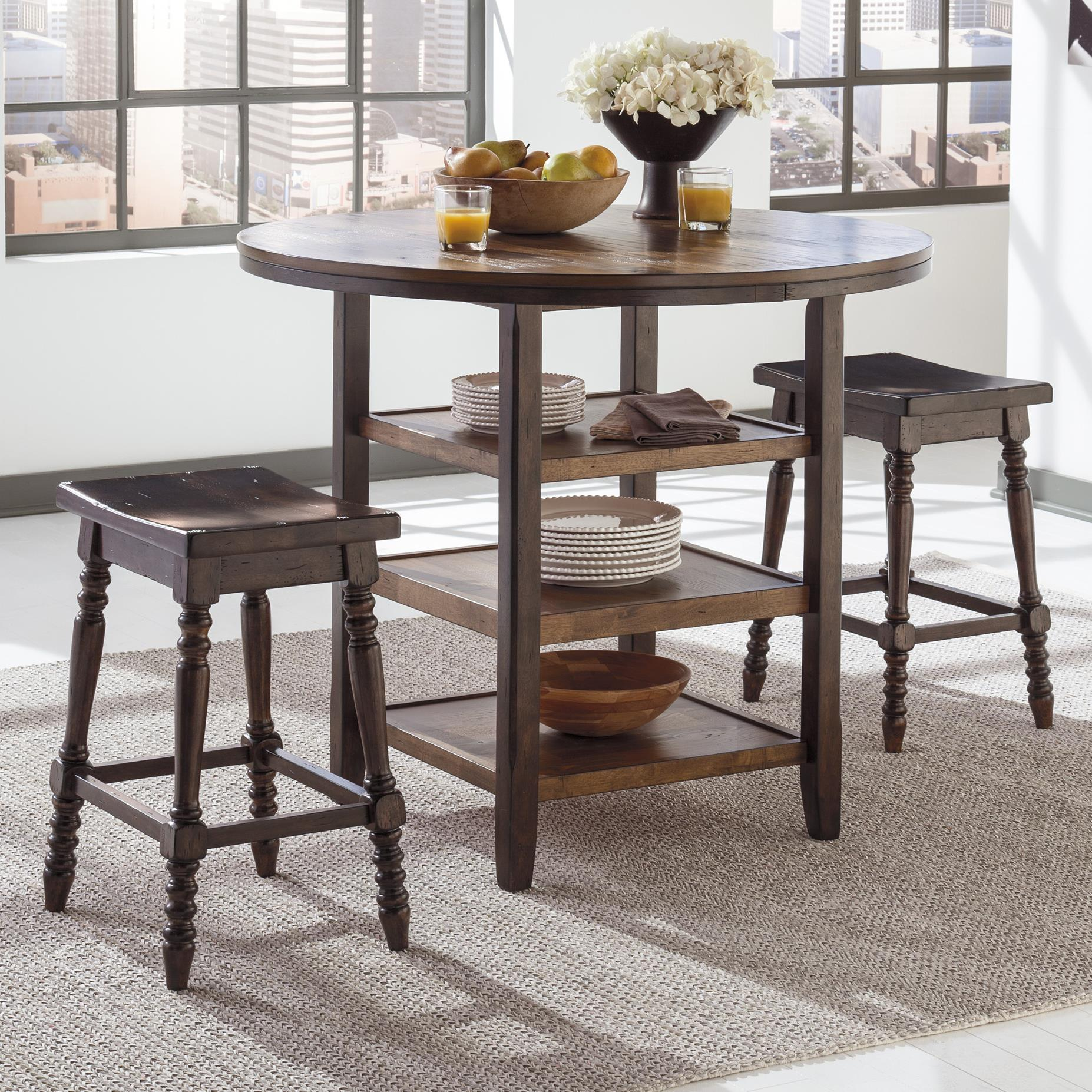 Signature Design by Ashley Moriann 3-Piece Counter Table Set - Item Number: D608-13+2x124