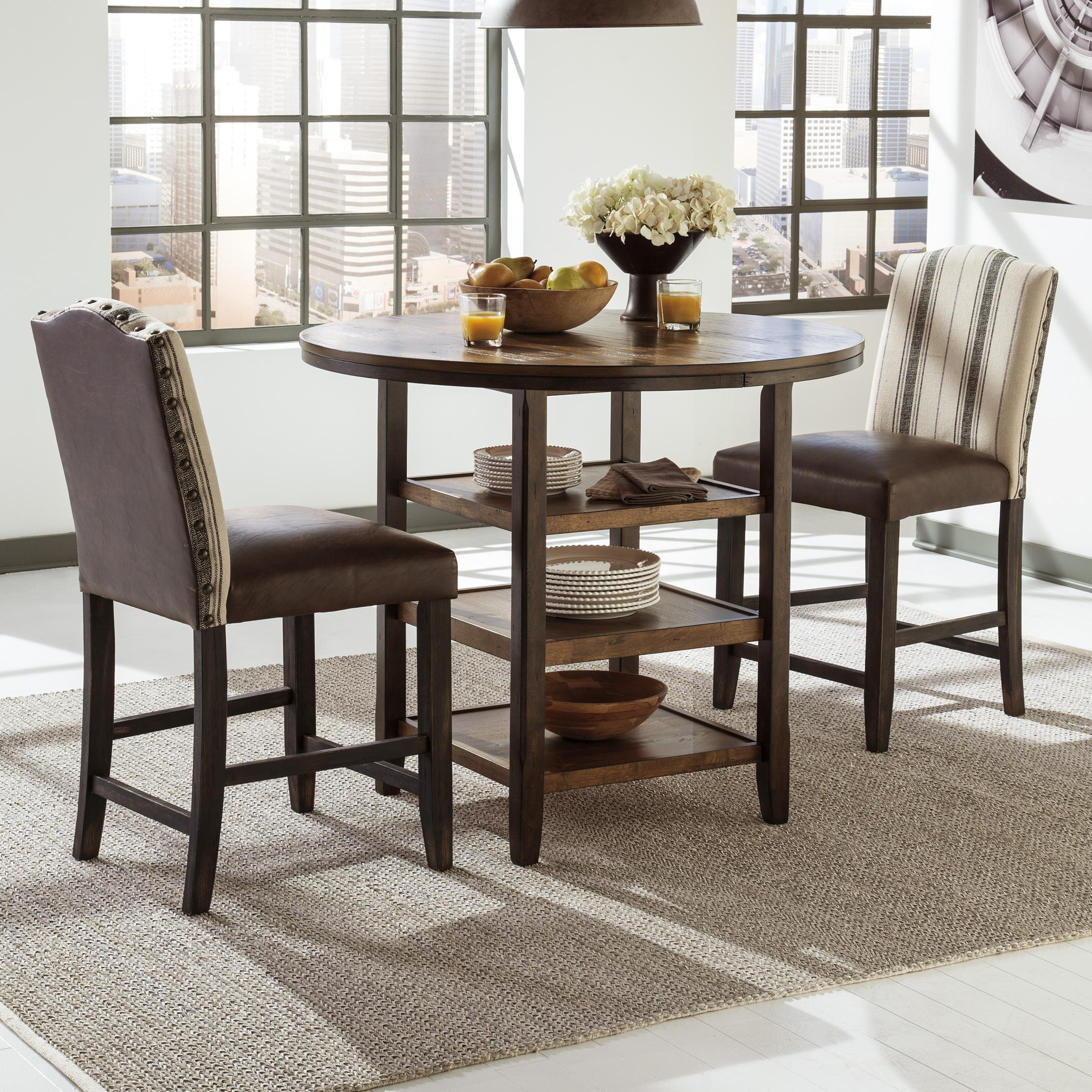 Signature Design by Ashley Moriann 3-Piece Counter Table Set - Item Number: D608-13+2x324