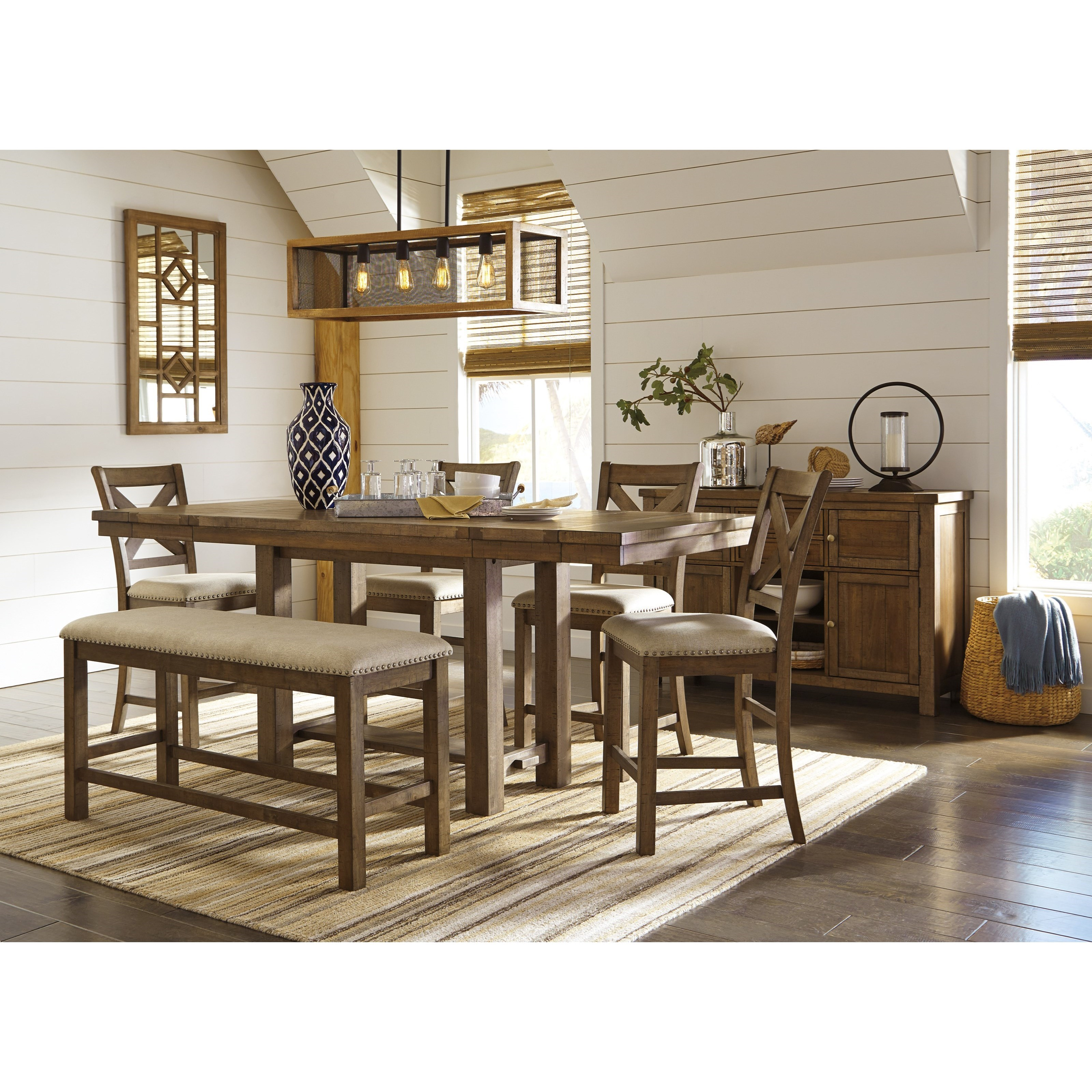 signature design by moriville 6 rectangular counter table w bench furniture and
