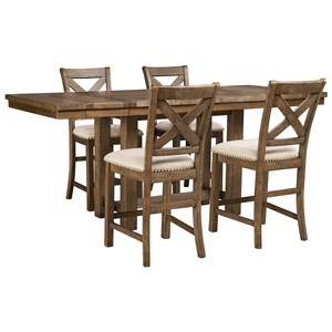 Signature Design by Ashley Moriville 5-Piece Rectangular Extension Table Set