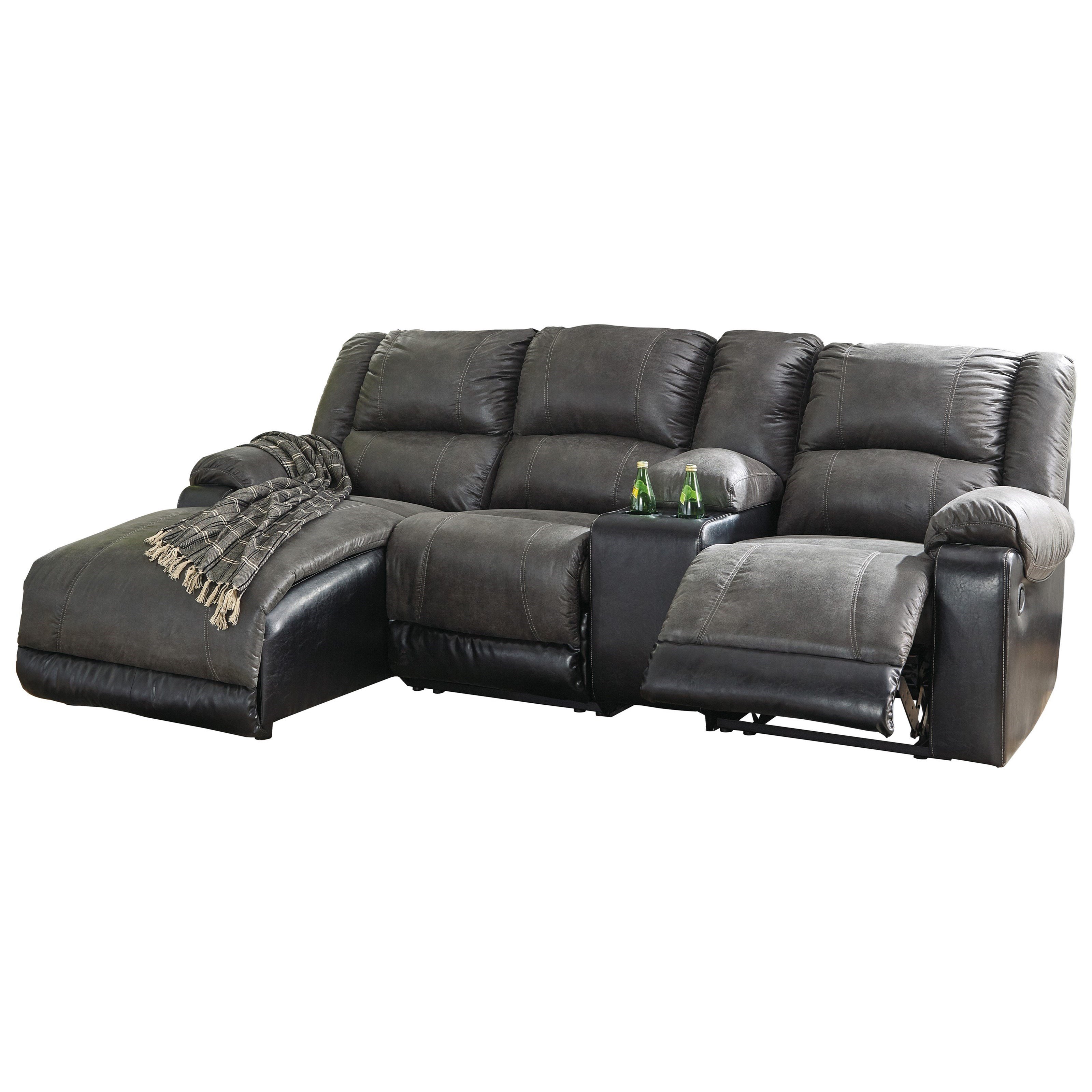 Nantahala Reclining Chaise Sofa With Storage Console By Signature Design Ashley At Royal Furniture
