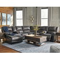 Signature Design by Ashley Nantahala Reclining Sectional with 2 Consoles & Chaise - Item Number: 5030116+57+46+77+19+57+41