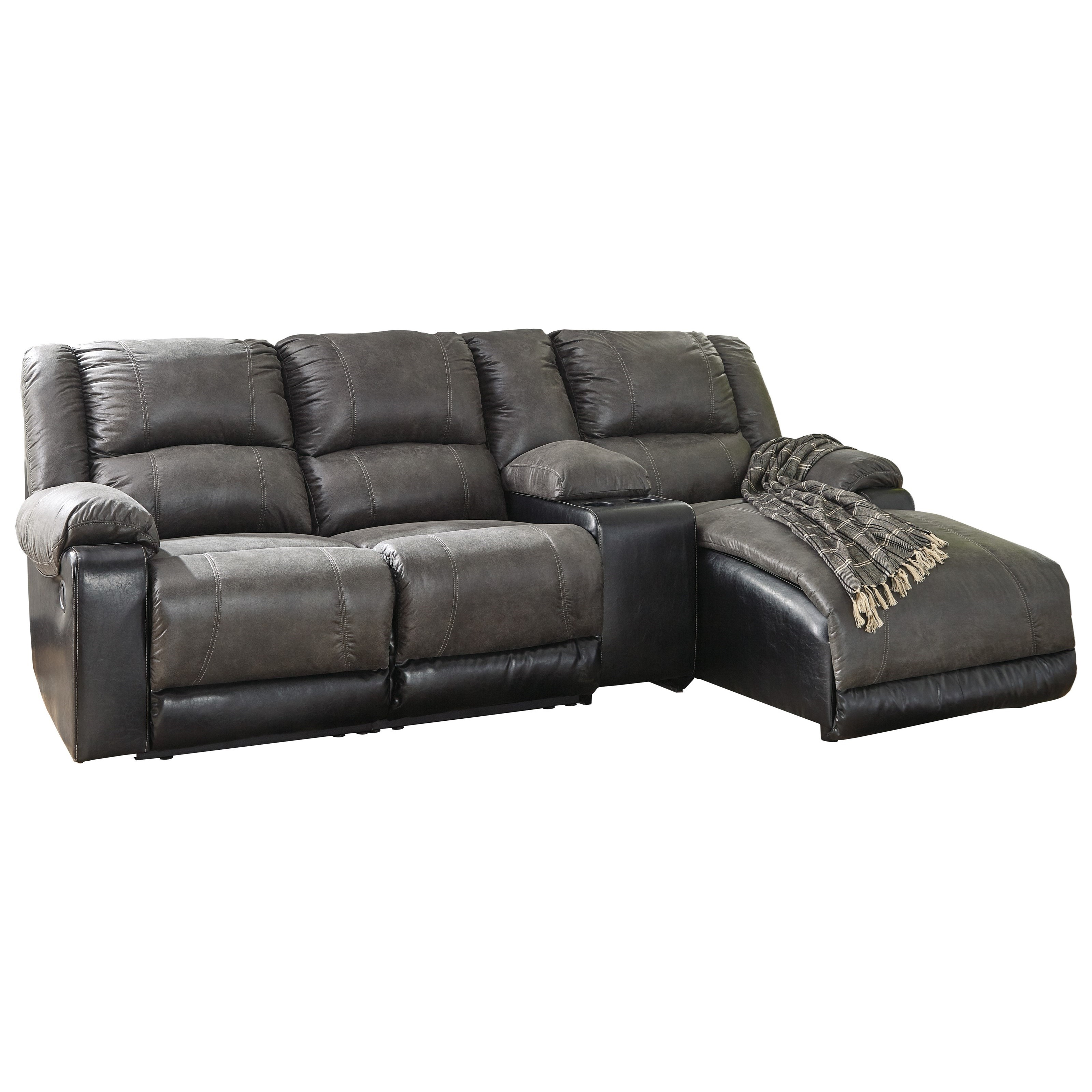 Nantahala Reclining Chaise Sofa With Storage Console By Signature Design Ashley At Household Furniture