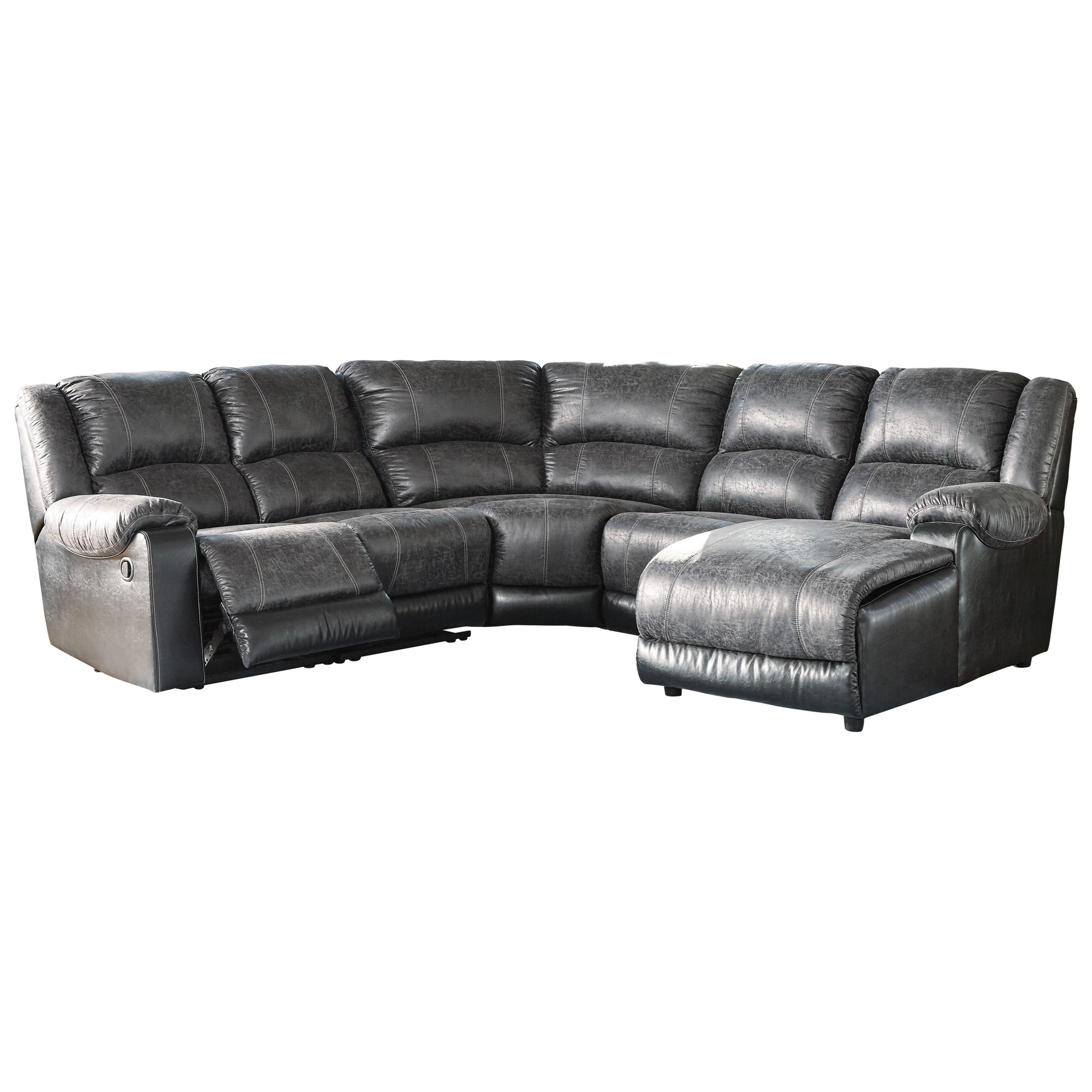 Ashley signature design nantahala faux leather reclining for Ashley reclining chaise