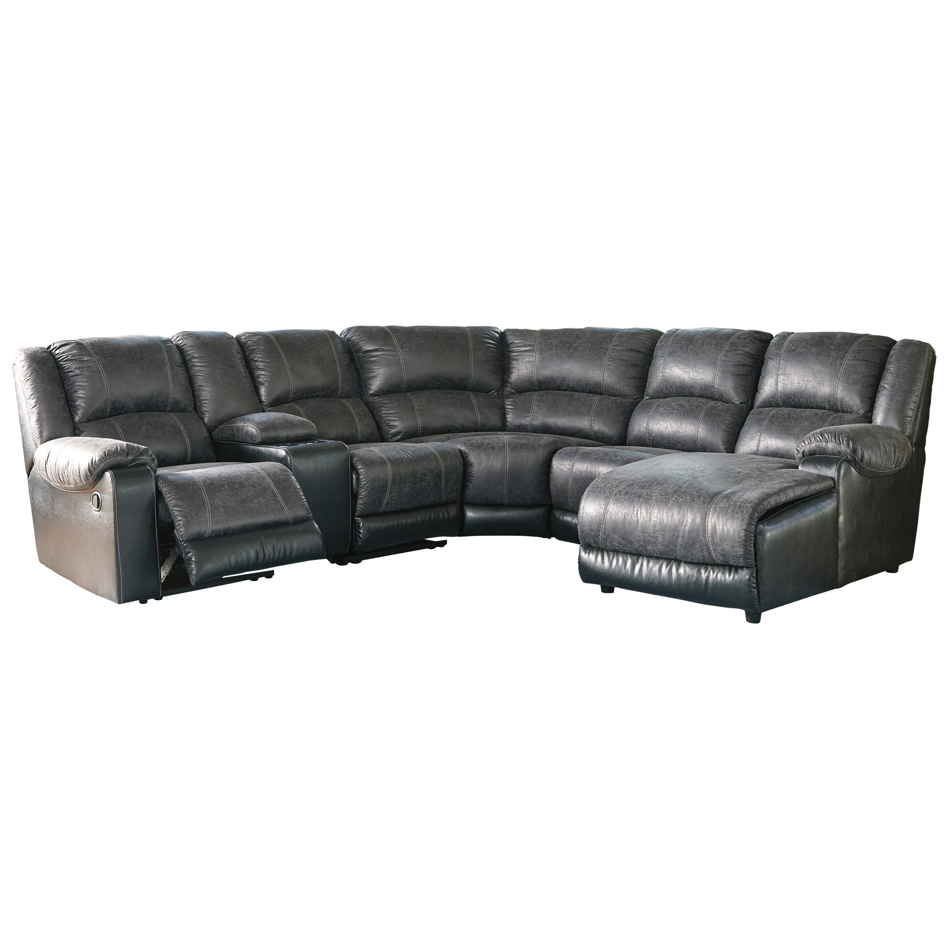 Signature Design by Ashley Nantahala Faux Leather Reclining Sectional with Chaise u0026 Console ...