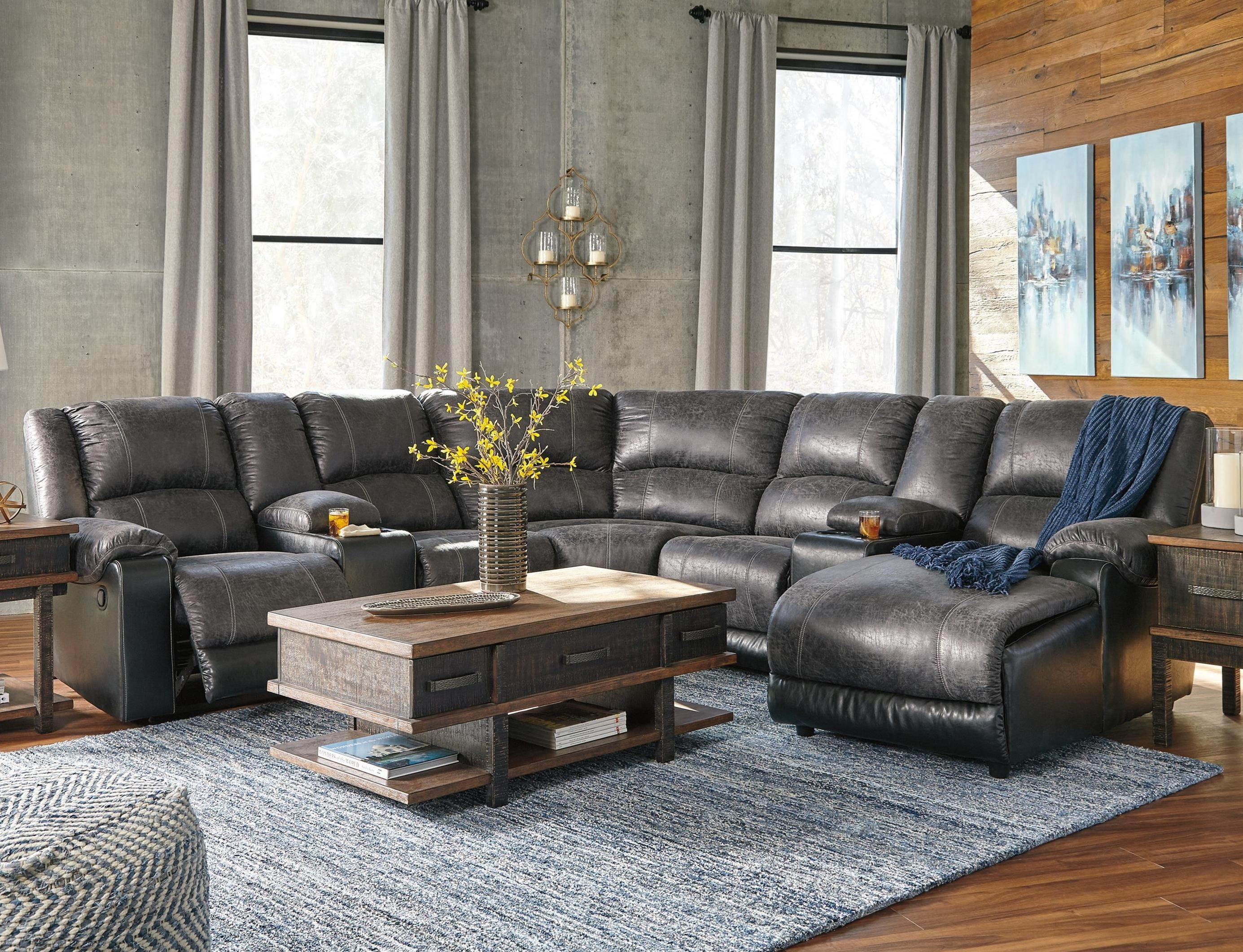 Reclining Sectional with 2 Consoles & Chaise