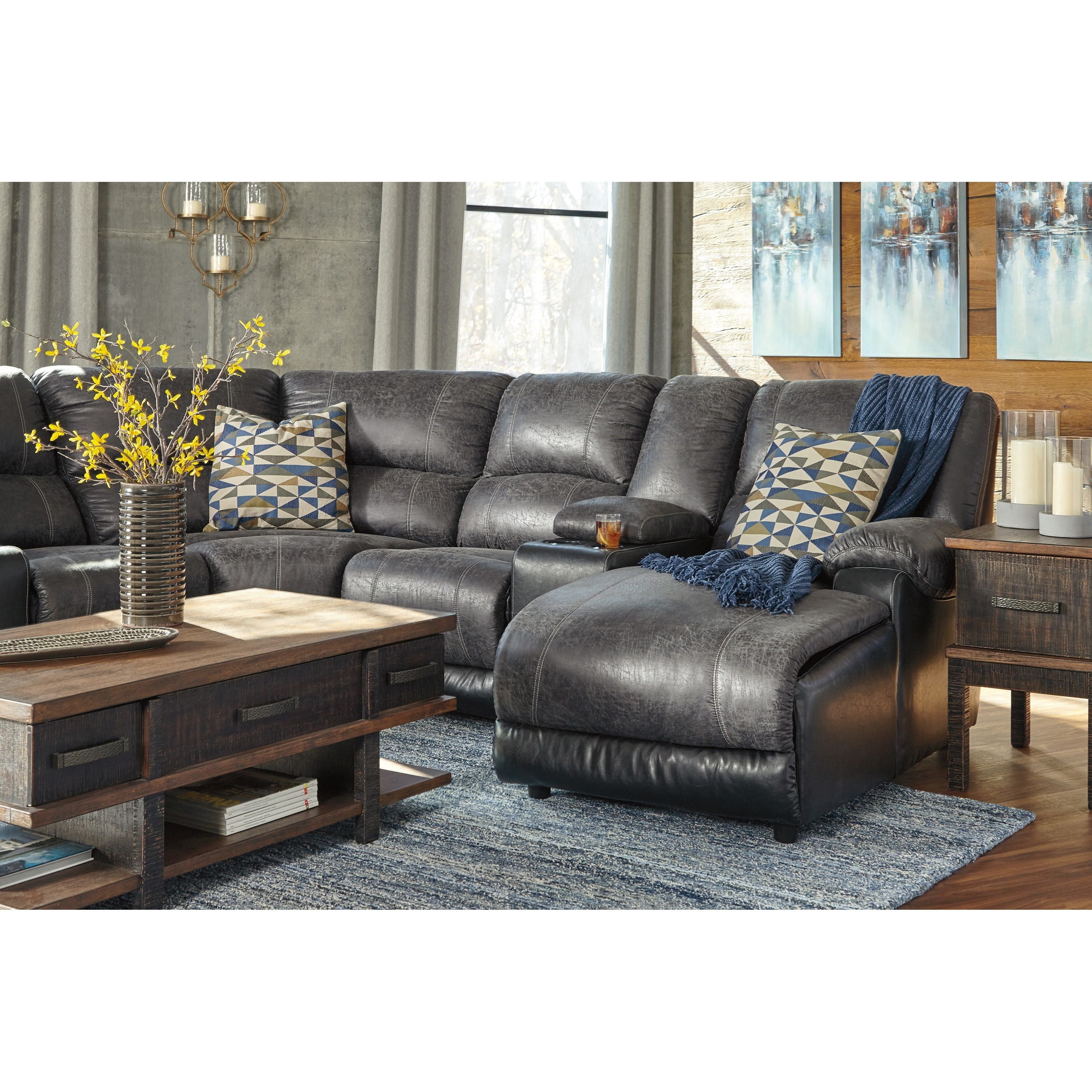 Ashley signature design nantahala faux leather reclining for Ashley chaise recliner