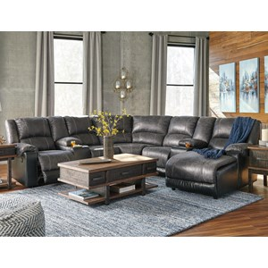 Signature Design by Ashley Nantahala Reclining Sectional with 2 Consoles & Chaise