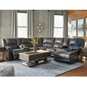 Signature Design by Ashley Nantahala Reclining Sectional with 2 Consoles & Chaise - Item Number: 5030140+57+19+77+46+57+17
