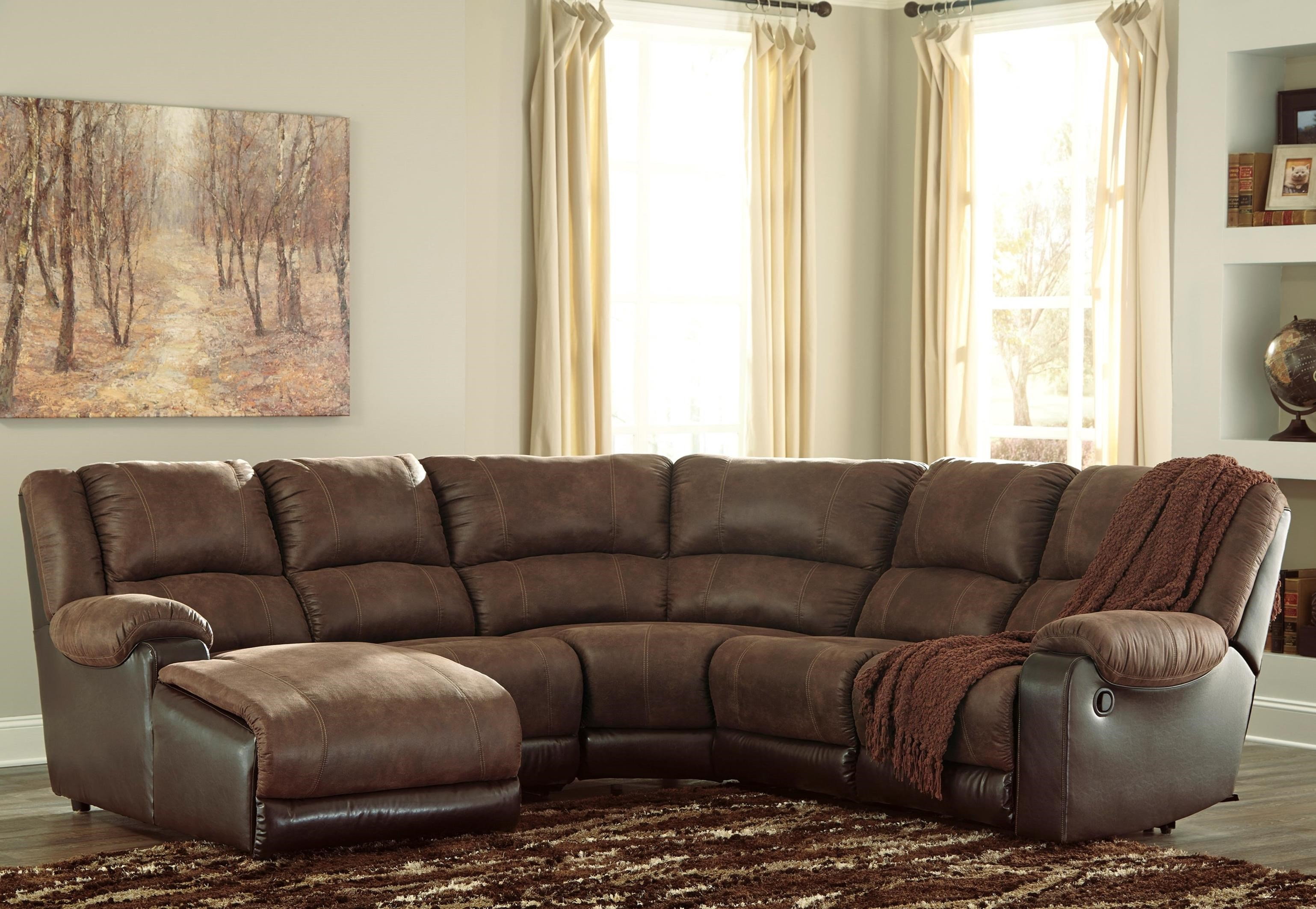 Ashley Signature Design Nantahala Faux Leather Reclining Sectional  ~ Sofa Bed Sectional With Recliner