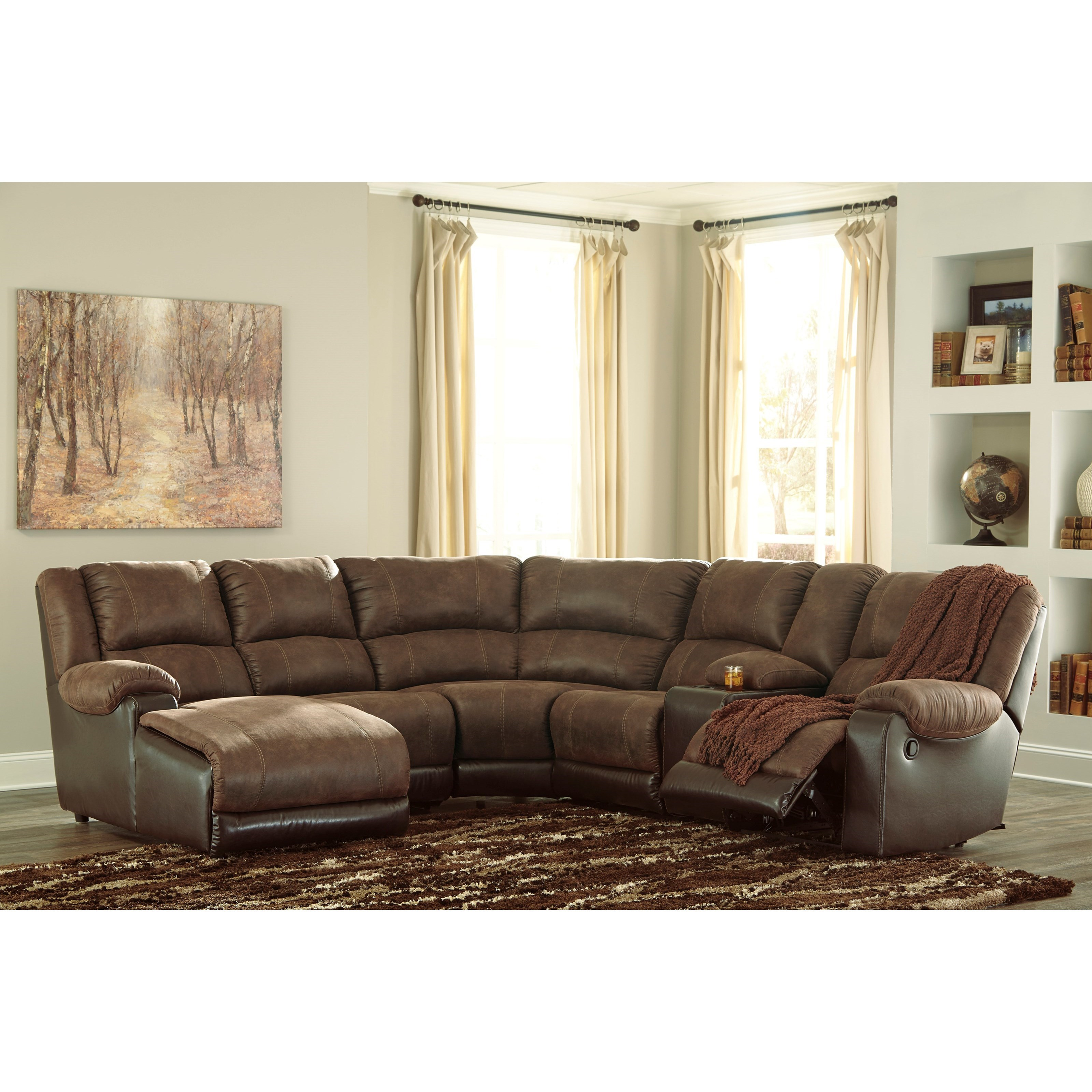 Signature design by ashley nantahala faux leather for At home designs sedona leather chaise recliner