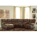 Signature Design by Ashley Nantahala Reclining Sectional with Chaise & Console - Item Number: 5030216+46+77+19+57+41