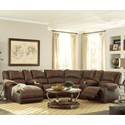 Signature Design by Ashley Nantahala Reclining Sectional with 2 Consoles & Chaise - Item Number: 5030216+57+46+77+19+57+41
