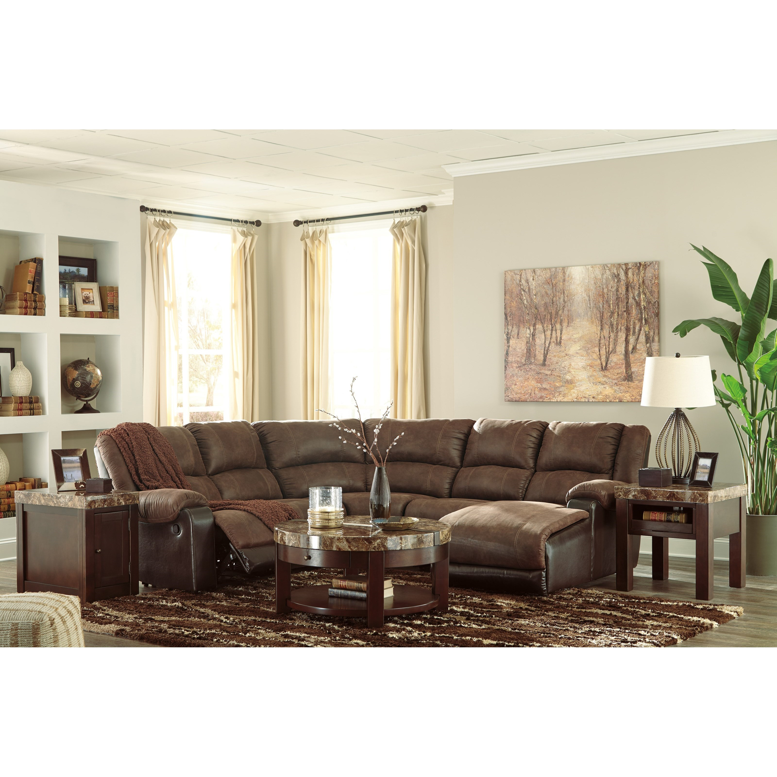 Value City Furniture Living Room Sets >> Signature Design by Ashley Nantahala Faux Leather Reclining Sectional with Chaise | Value City ...
