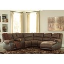 Ashley (Signature Design) Nantahala Reclining Sectional with Chaise & Console - Item Number: 5030240+57+19+77+46+17