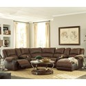 Signature Design by Ashley Nantahala Reclining Sectional with 2 Consoles & Chaise - Item Number: 5030240+57+19+77+46+57+17