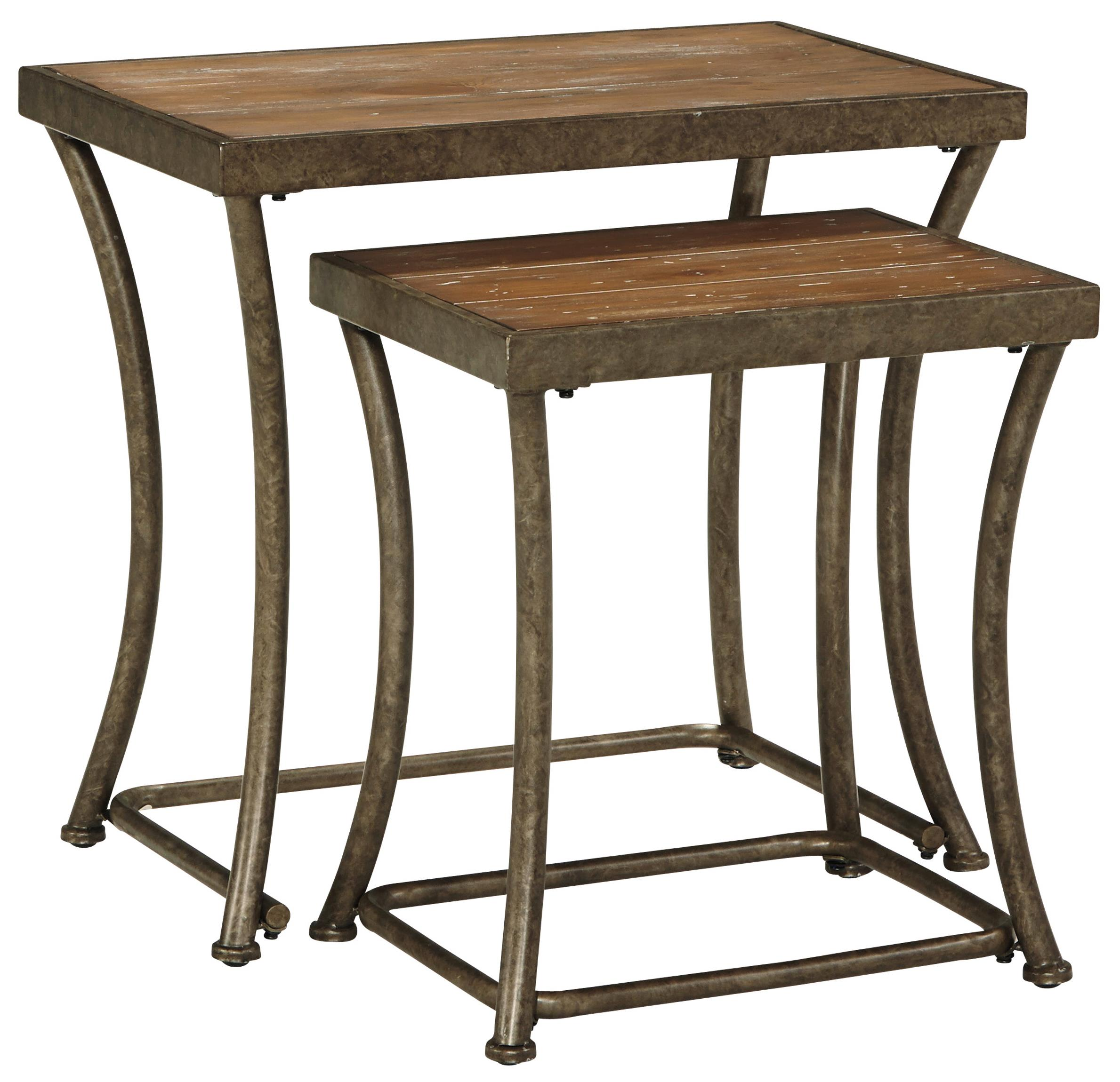 Ashley Signature Design Nartina Rustic Metal Nesting End Tables With Distressed Pine Tables Tops