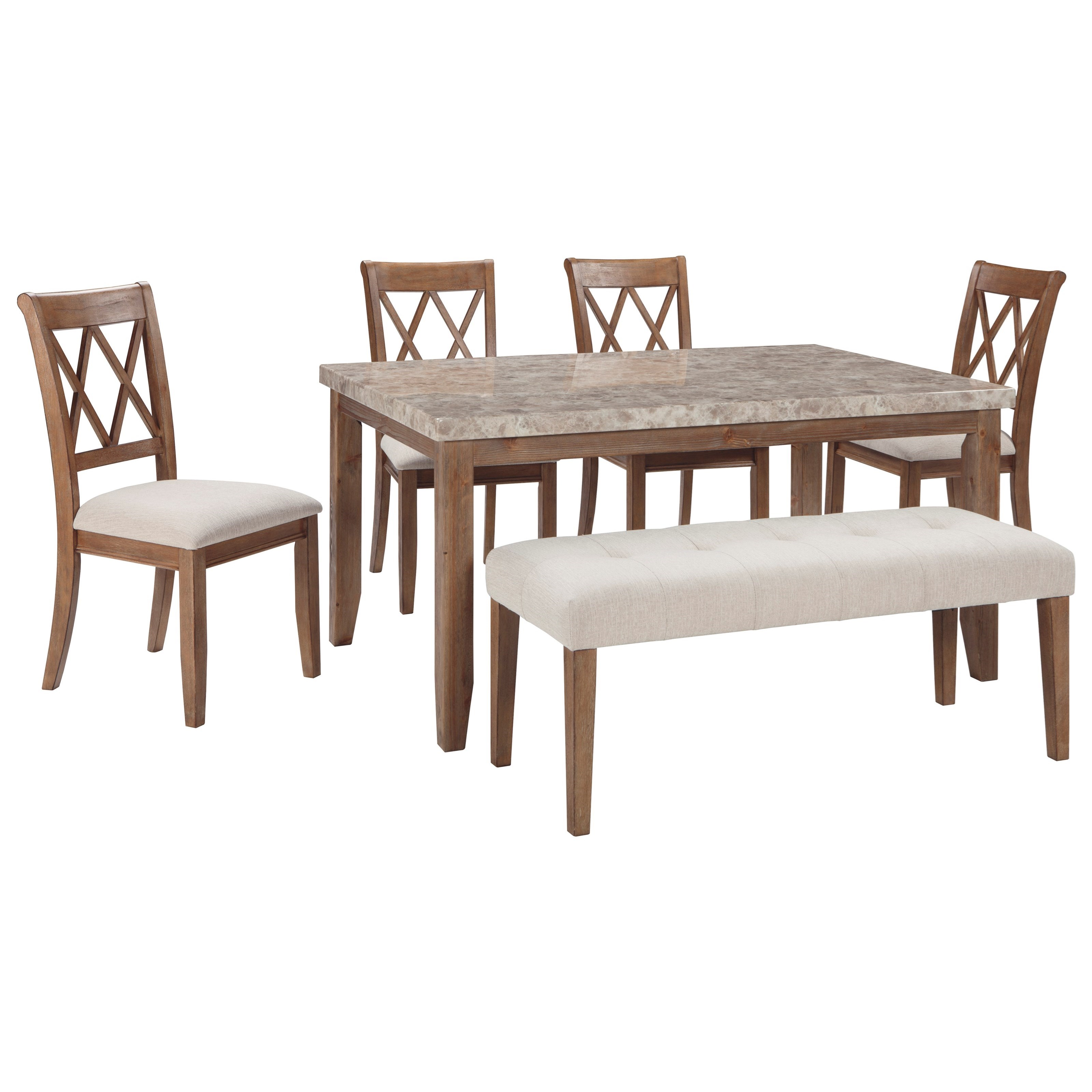 Signature Design by Ashley Narvilla 6-Piece Rectangular Table Set with Bench - Item Number: D559-25+4x01+00
