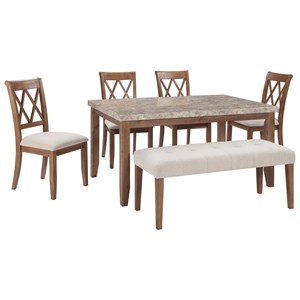 Signature Design by Ashley Narvilla 6-Piece Rectangular Table Set with Bench