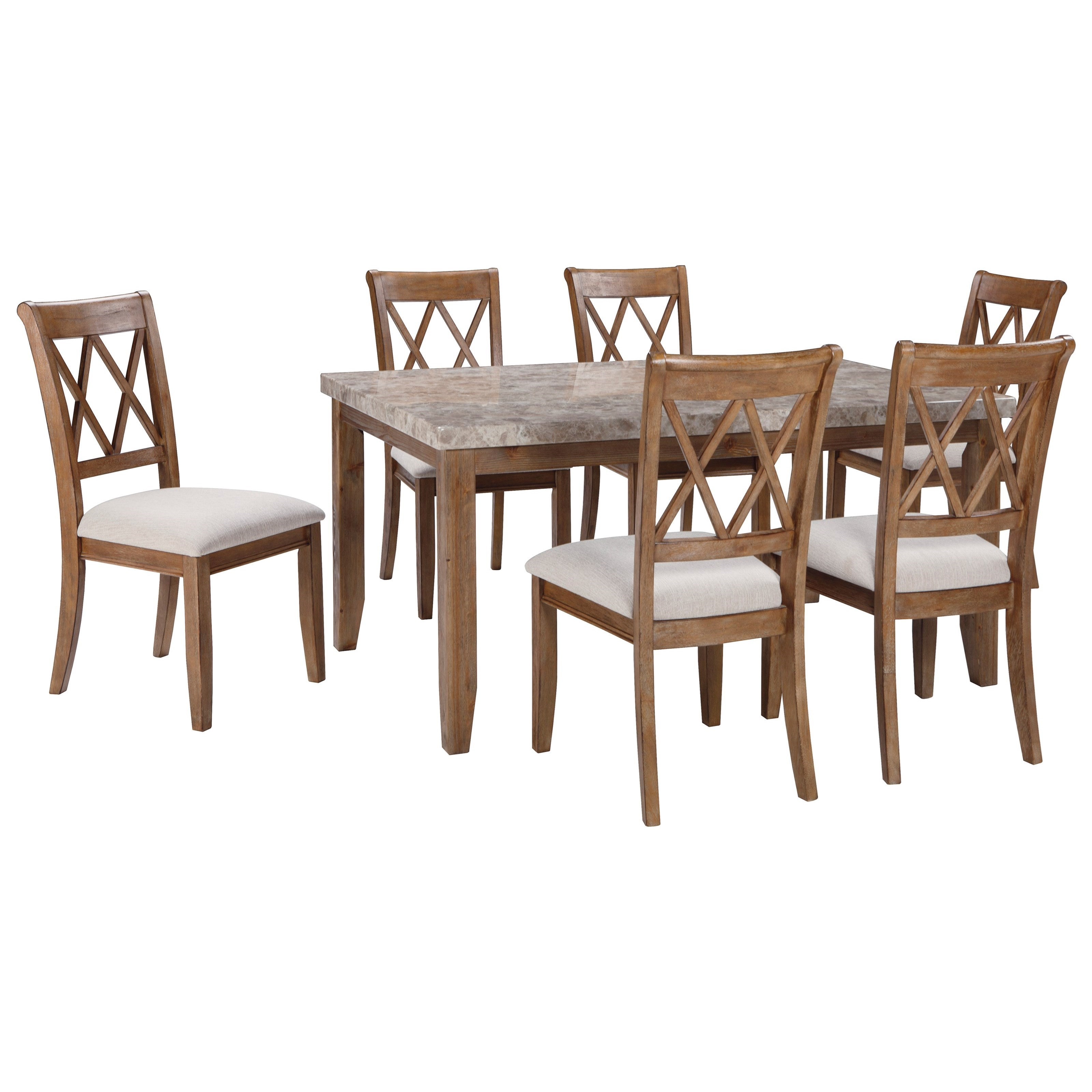 Signature Design by Ashley Narvilla 7-Piece Rectangular Dining Table Set - Item Number: D559-25+6x01