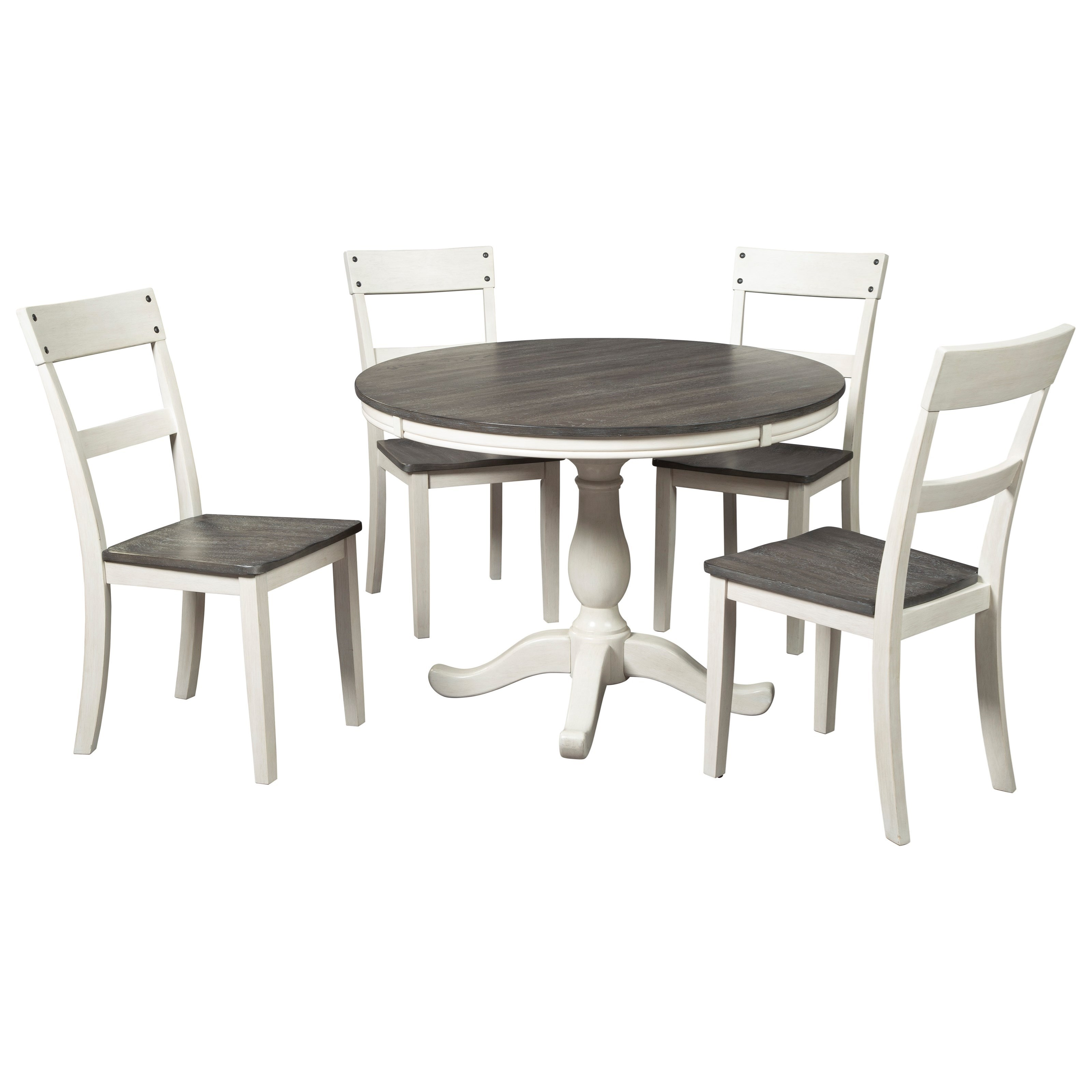 Signature Design By Ashley Nelling Farmhouse Two Tone 5 Piece Round Dining Table Set Royal Furniture Dining 5 Piece Sets