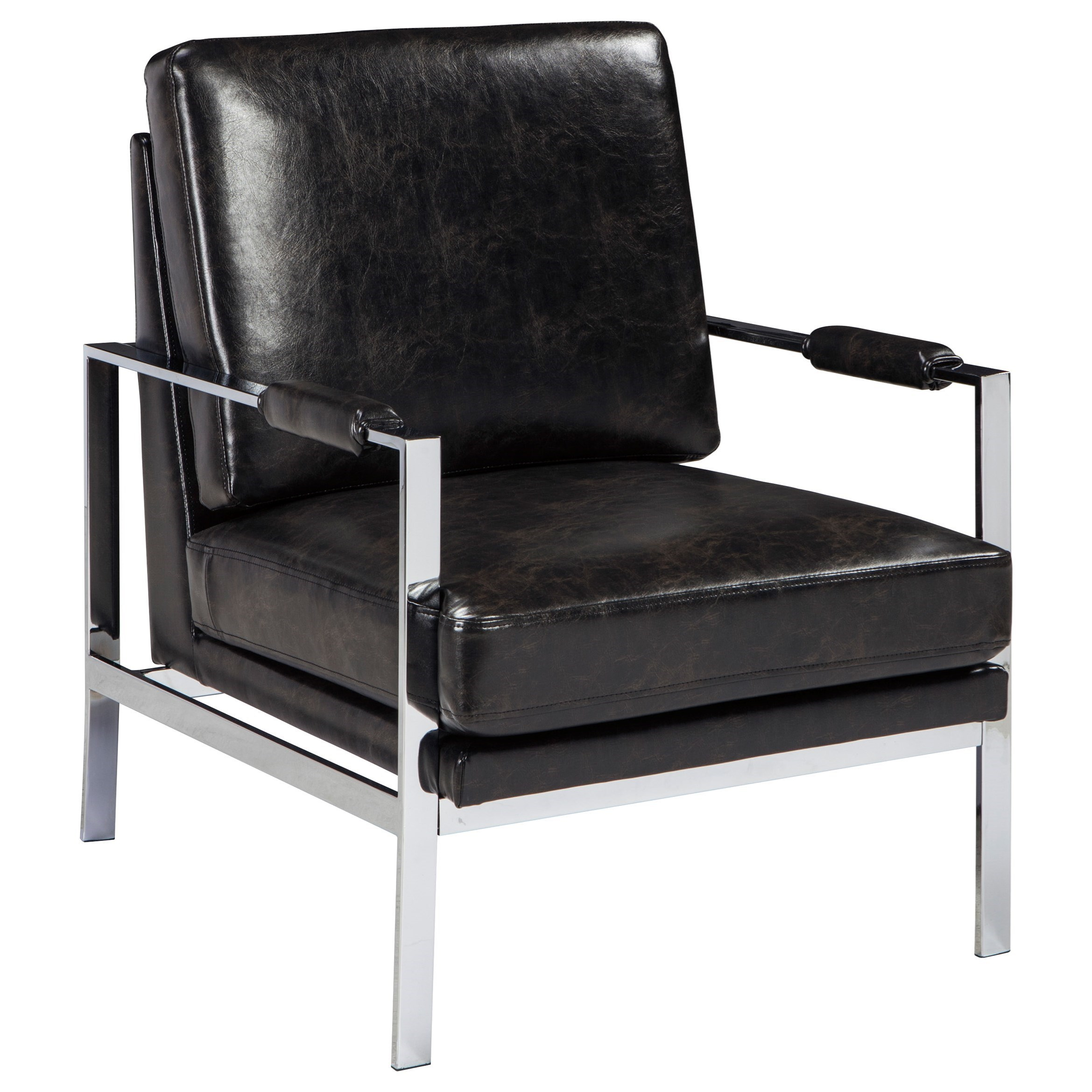 black leather occasional chair rotmans essentials 100 network chrome finish metal arm 11215 | products%2Fsignature design by ashley%2Fcolor%2Fnetwork a3000028 b1