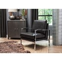 Signature Design by Ashley Network Chrome Finish Metal Arm Accent Chair with Black Faux Leather