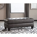 Signature Design by Ashley Nokomis Rectangular Faux Leather Ottoman with Tufted Top