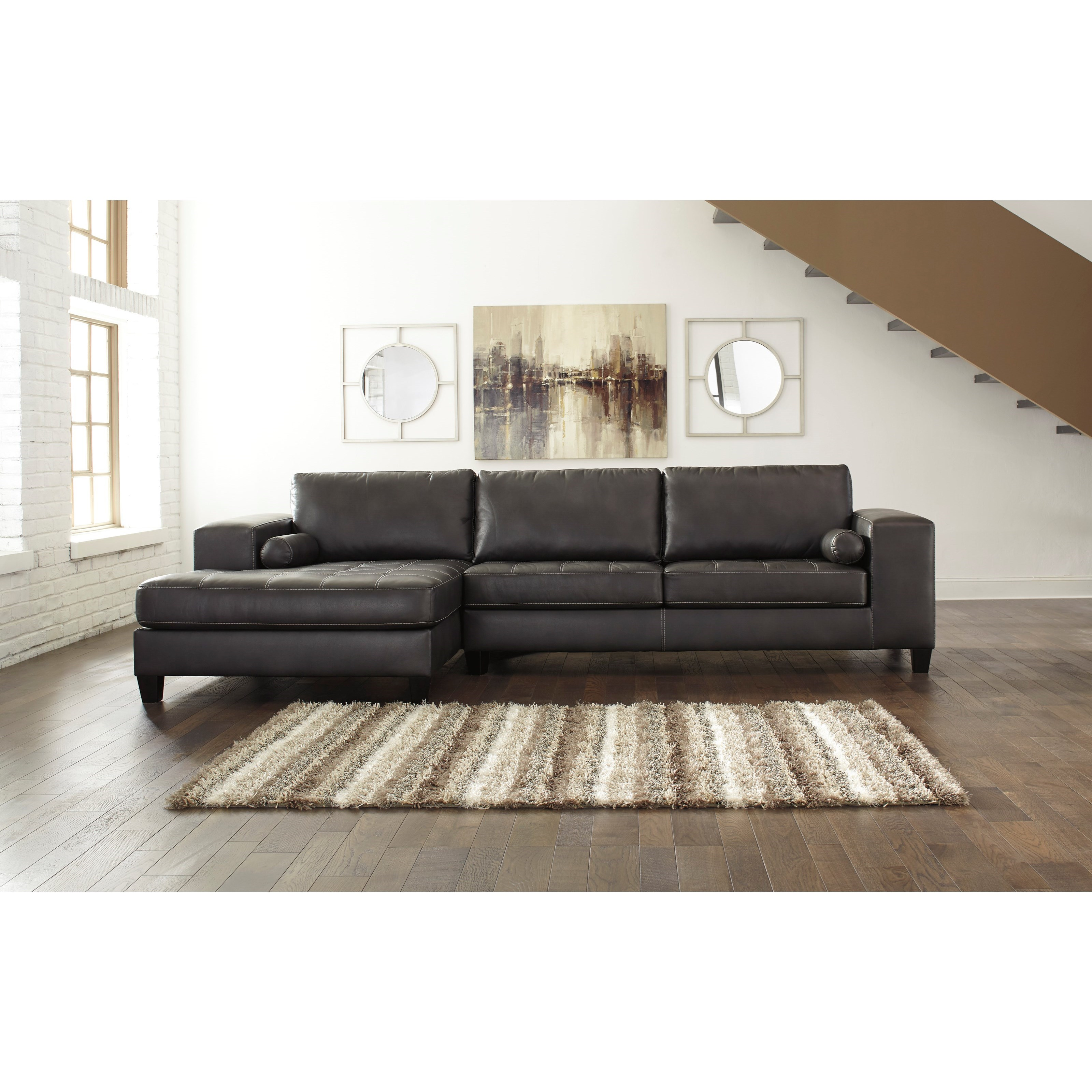 Ashley signature design nokomis contemporary faux leather for Ashley furniture chaise lounge