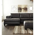 Signature Design by Ashley Nokomis Contemporary Faux Leather Sectional with Left Chaise & Queen Sleeper