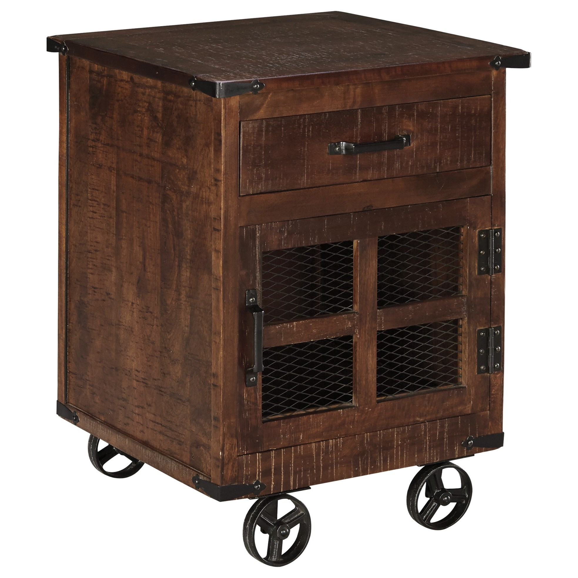 Ashley Signature Design Norlandon T938 2 Rustic Industrial Square End Table With Door Wheels