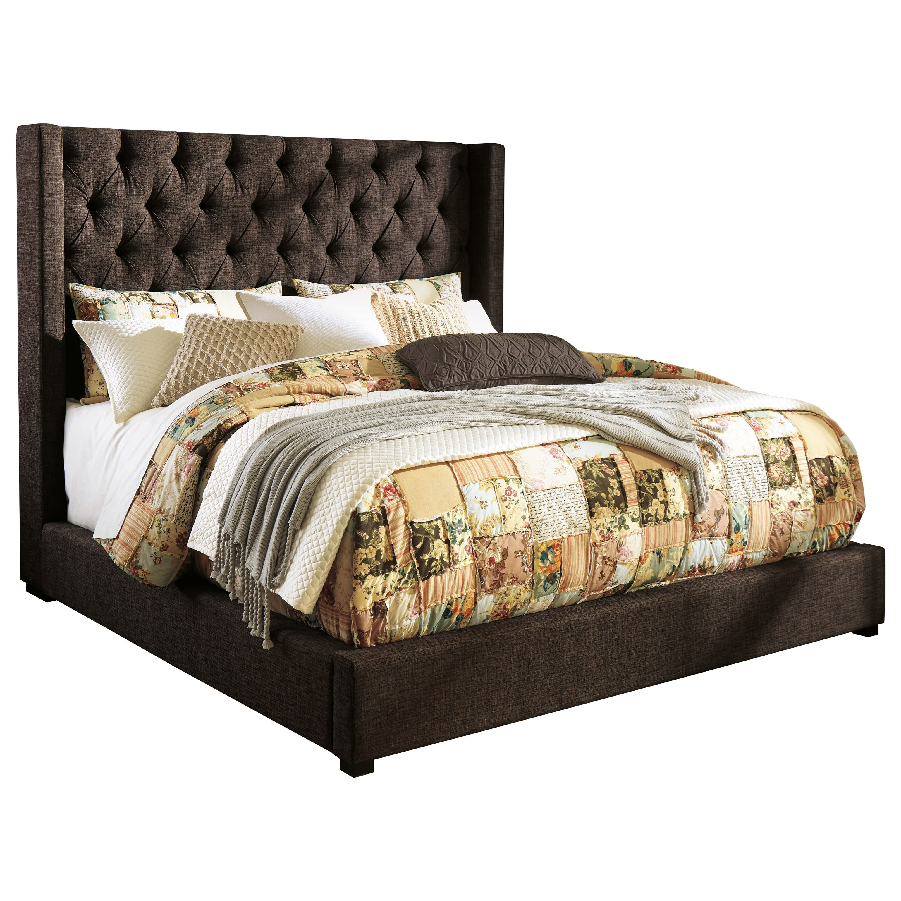 King Upholstered Wing Bed