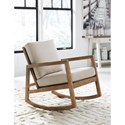 Signature Design by Ashley Novelda Upholstered Rocking Accent Chair with Exposed Wood Frame