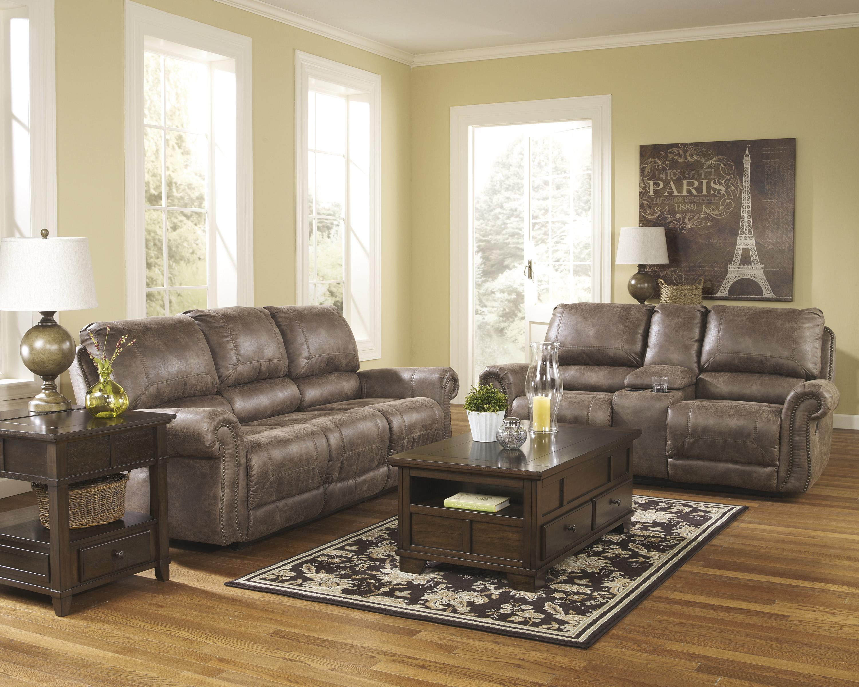 Signature Design by Ashley Oberson - Gunsmoke Reclining Living Room Group - Item Number: 74100 Living Room Group 1