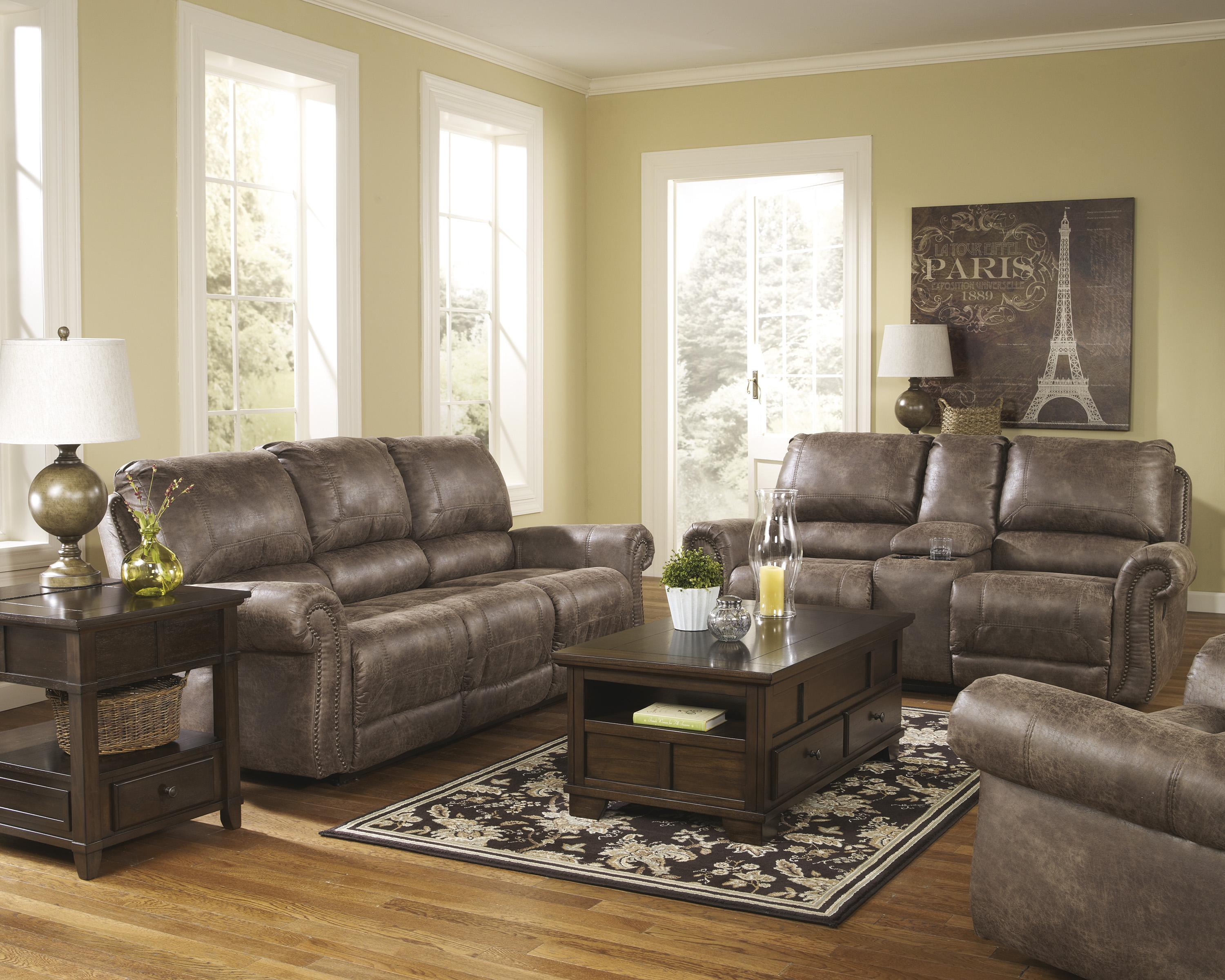 Signature Design by Ashley Oberson - Gunsmoke Reclining Living Room Group - Item Number: 74100 Living Room Group 3