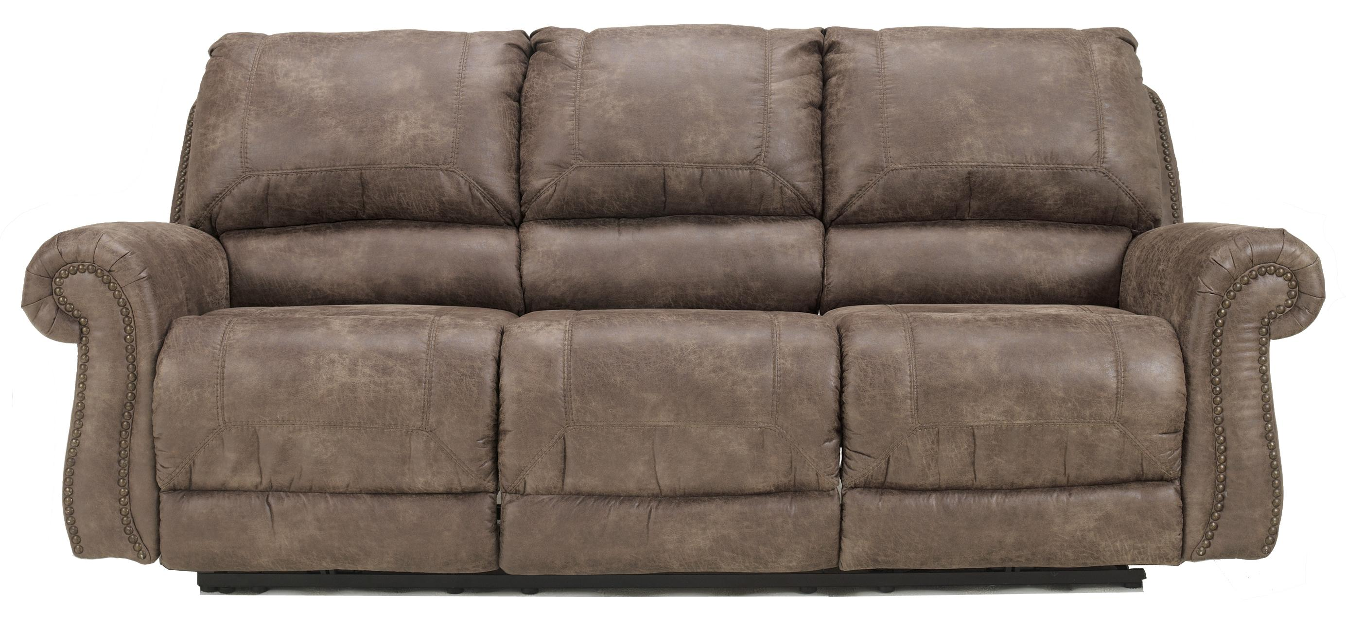 Ashley Signature Design Oberson Gunsmoke 7410087 Reclining Power Sofa With Rolled Arms Nail