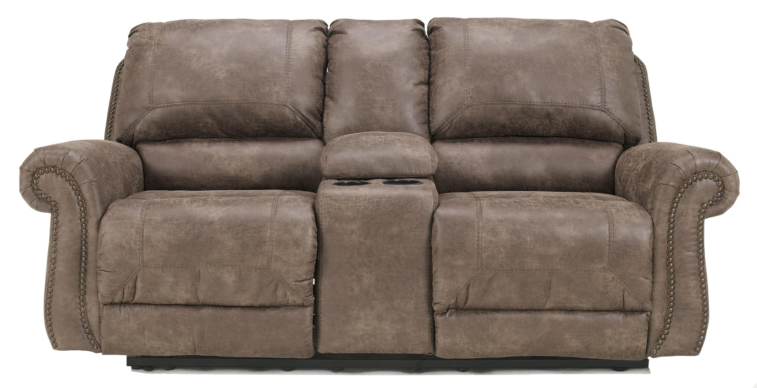 Ashley Signature Design Oberson Gunsmoke 7410096 Double Reclining Power Loveseat W Console