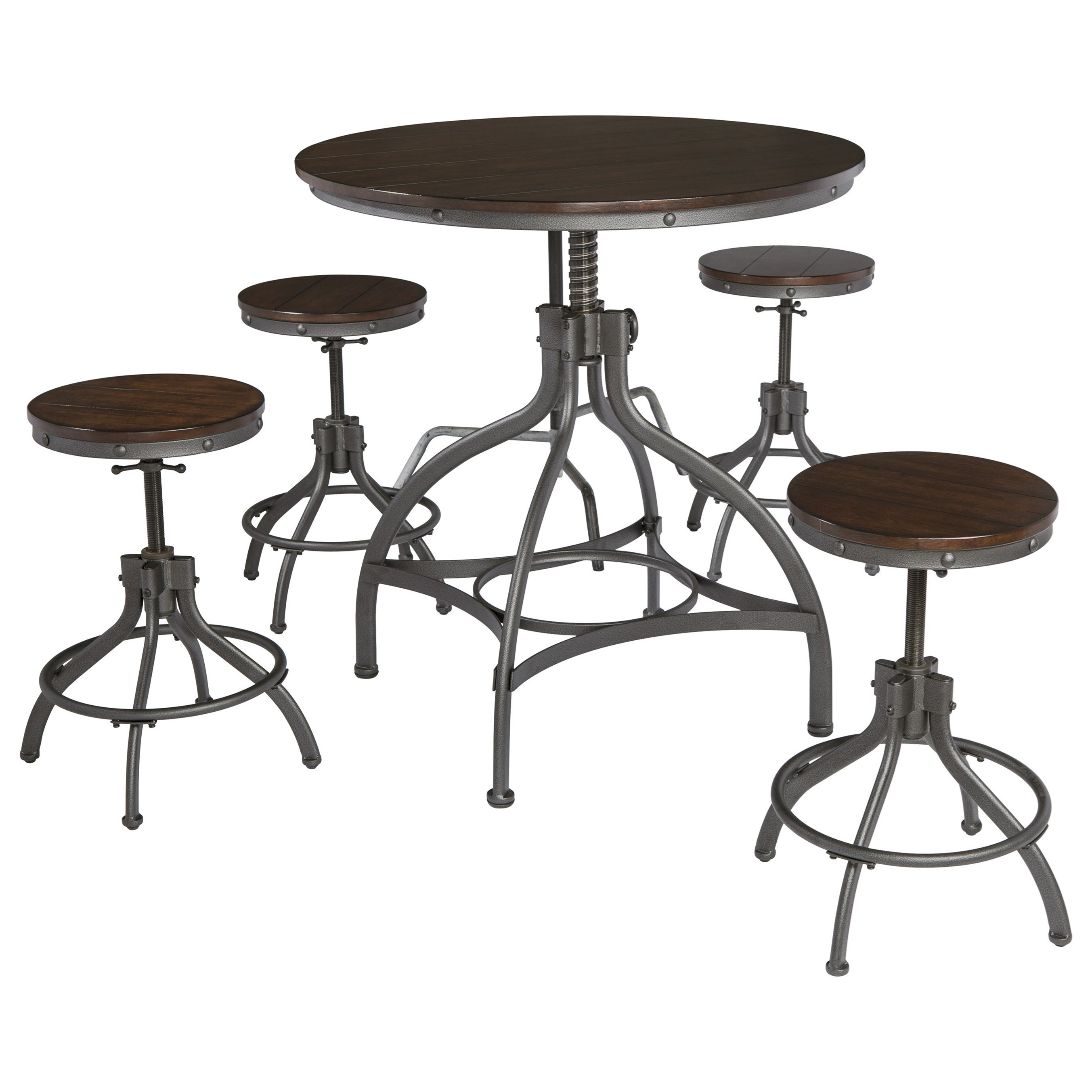 Signature Design by Ashley Odium 5-Piece Dining Room Counter Table Set - Item Number: D284-223
