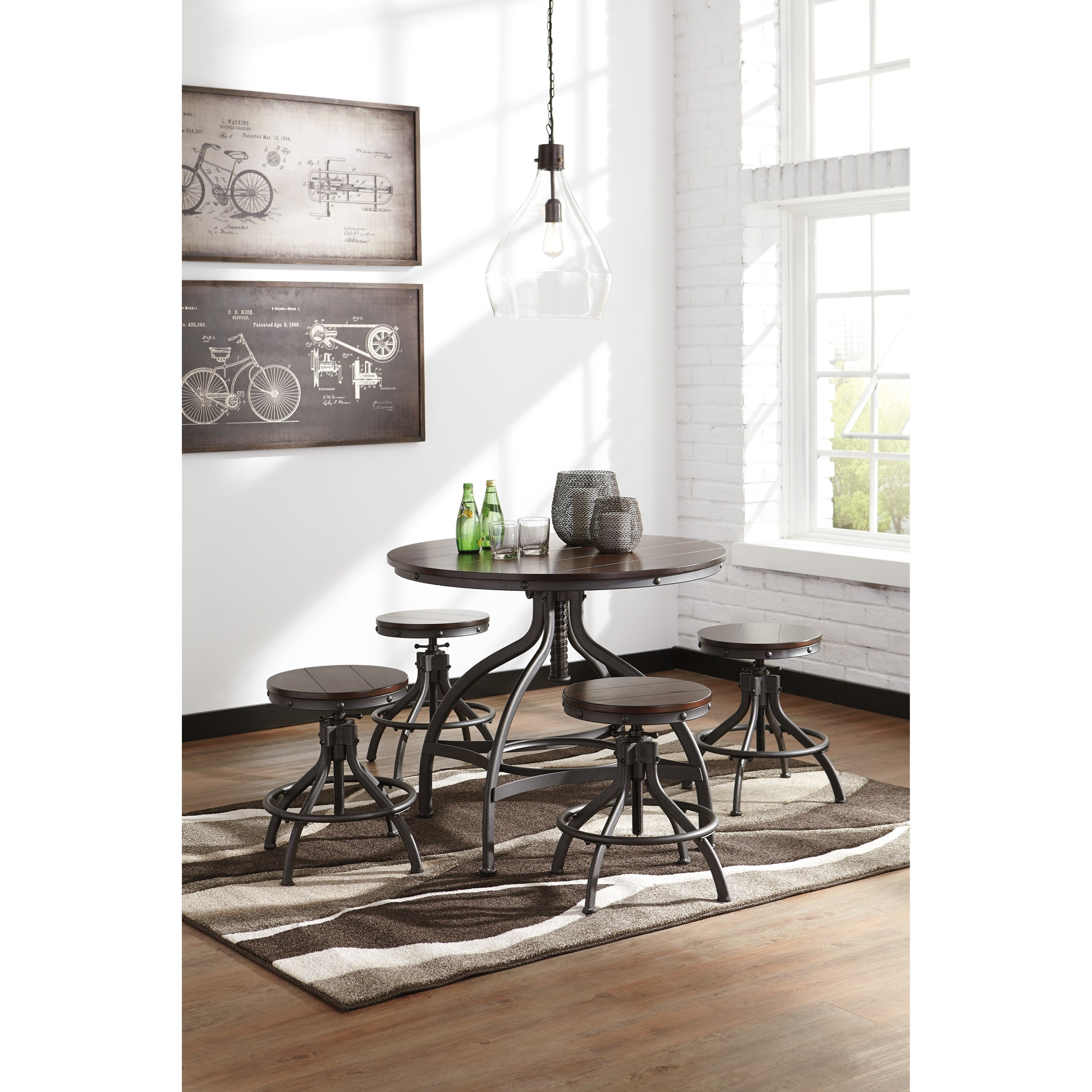 Ashley S Nest Decorating A Dining Room: Signature Design By Ashley Odium Adjustable 5-Piece Dining