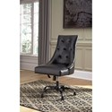 Signature Design by Ashley Office Chair Program Home Office Swivel Desk Chair in Black Faux Leather