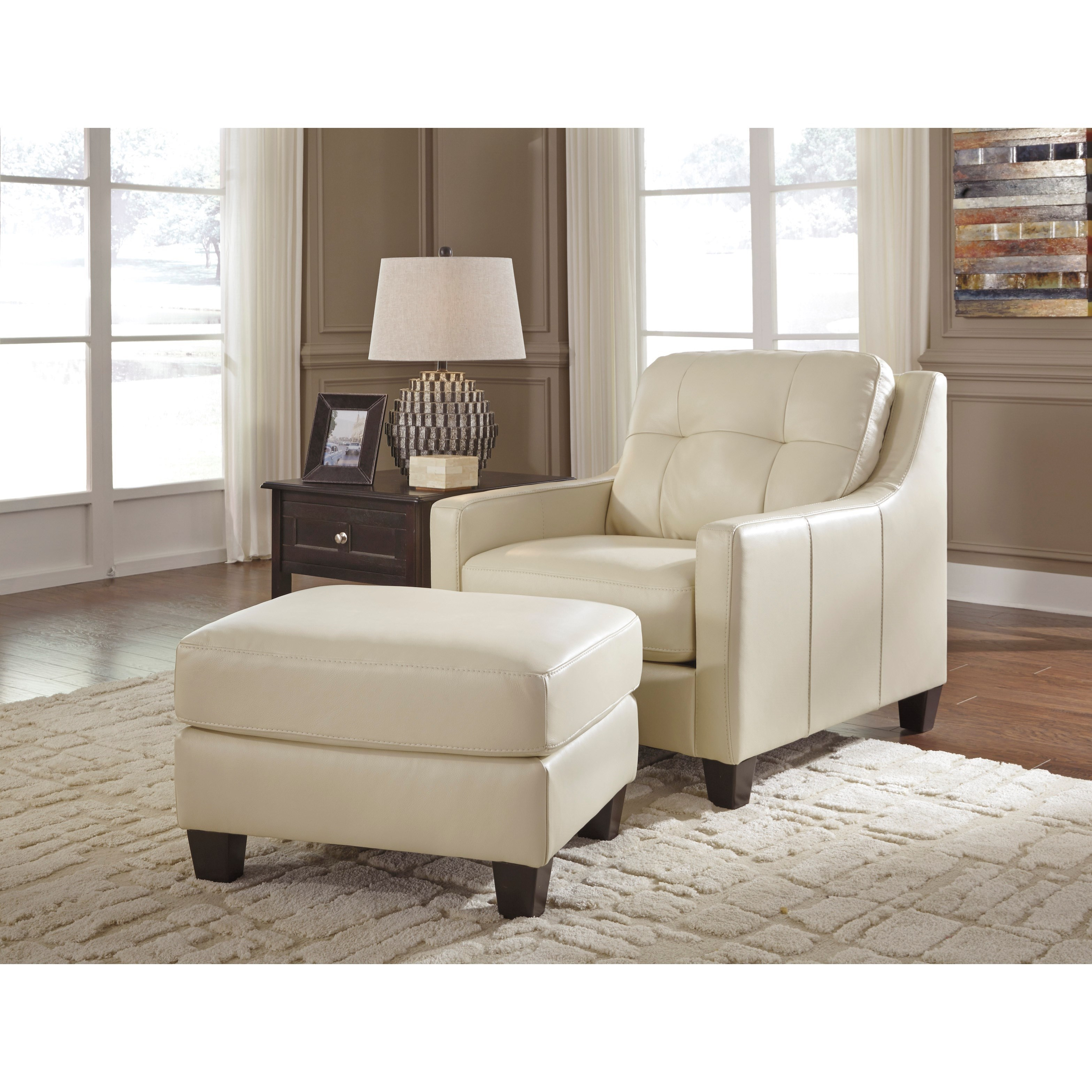Signature Design By Ashley O 39 Kean Leather Match Ottoman Miskelly Furniture Ottomans