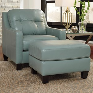 Signature Design by Ashley O Kean Contemporary Leather Match Sofa with Tufted Back & Track Arms