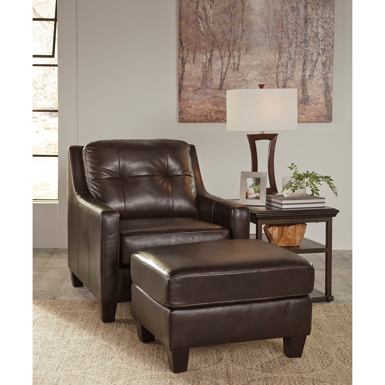 Signature Design By Ashley O 39 Kean 5910514 Leather Match Ottoman Del Sol Furniture Ottomans