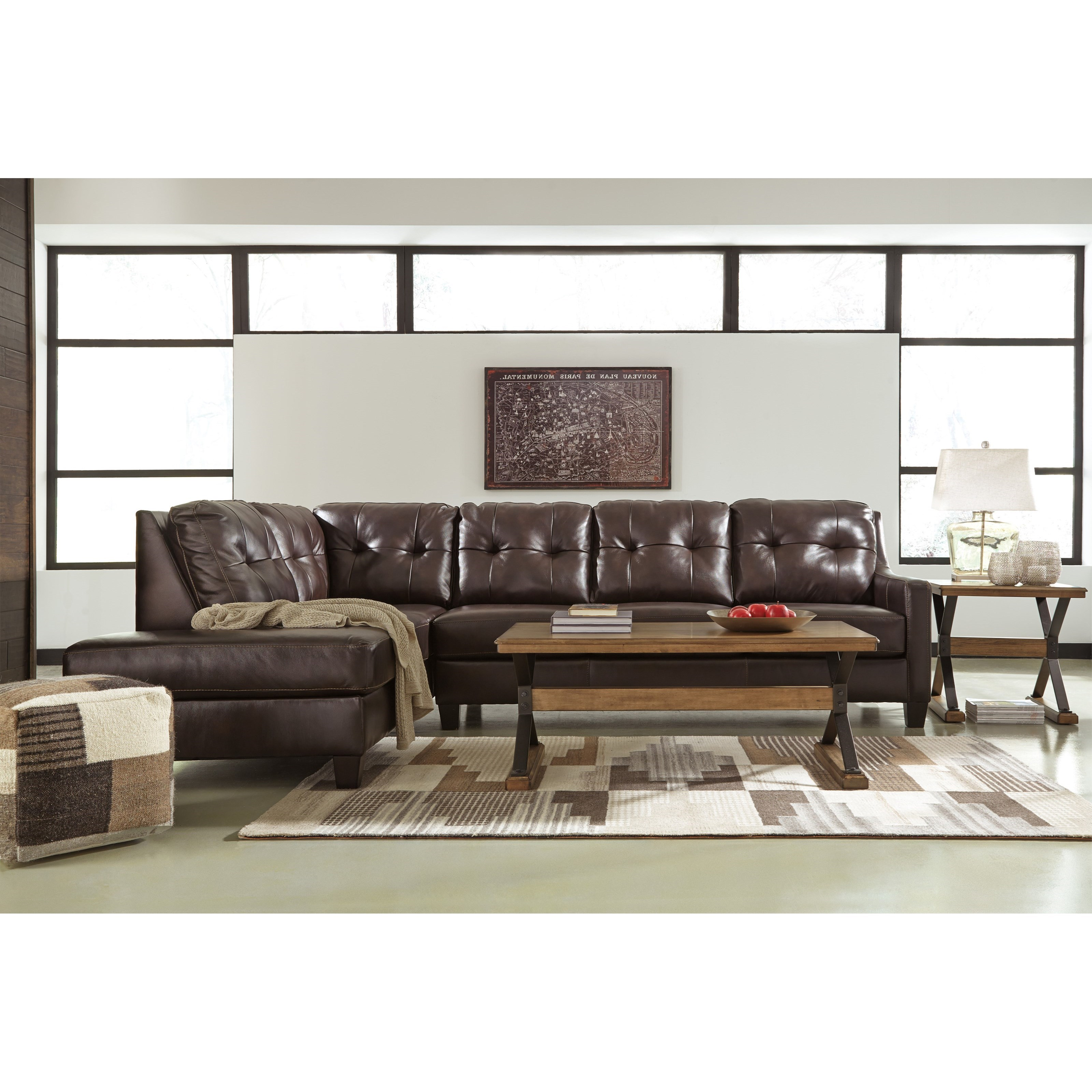 Signature design by ashley o 39 kean leather match 2 piece for Ashley encore grain chaise
