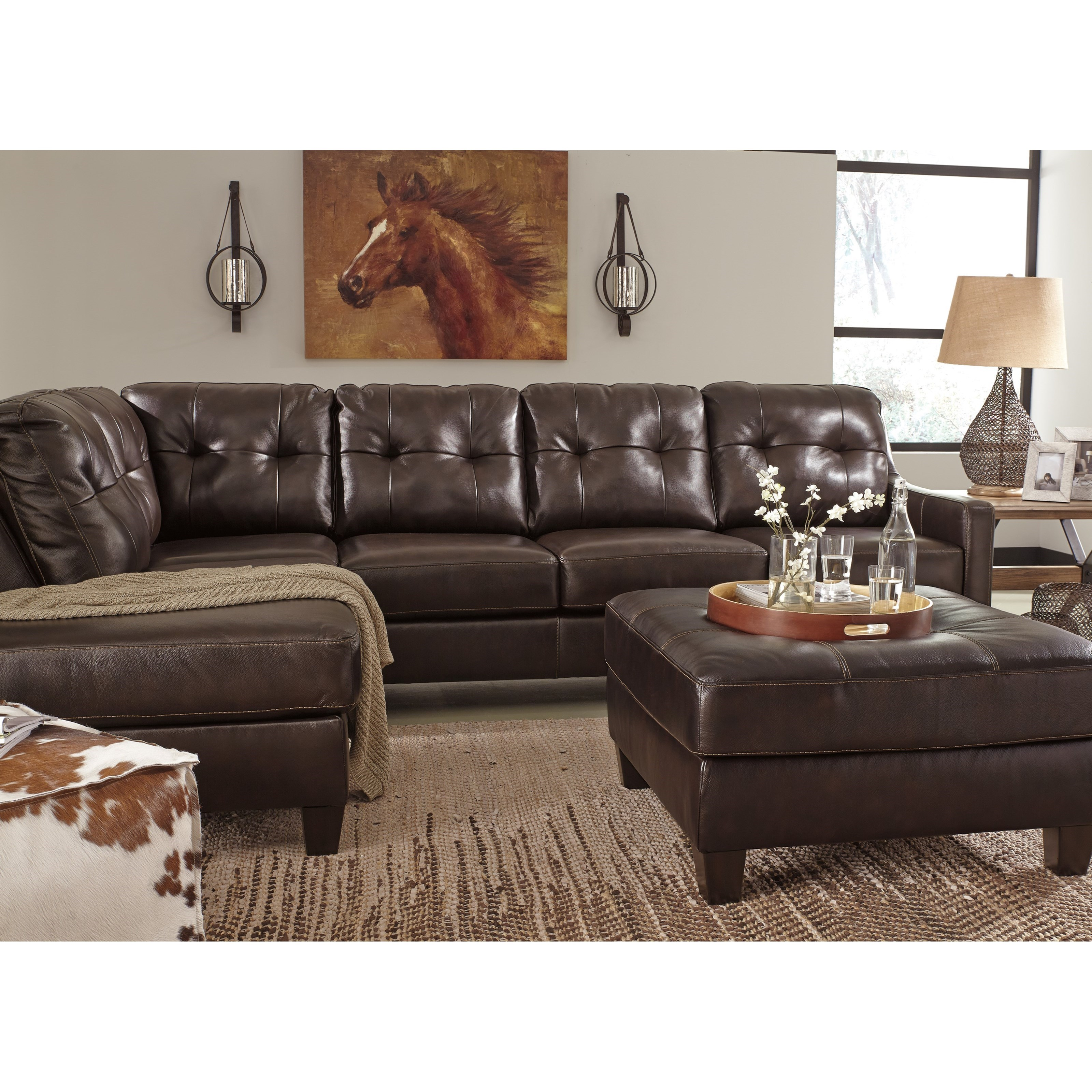 Signature design by ashley o 39 kean leather match 2 piece for Andrea 2 piece sleeper chaise