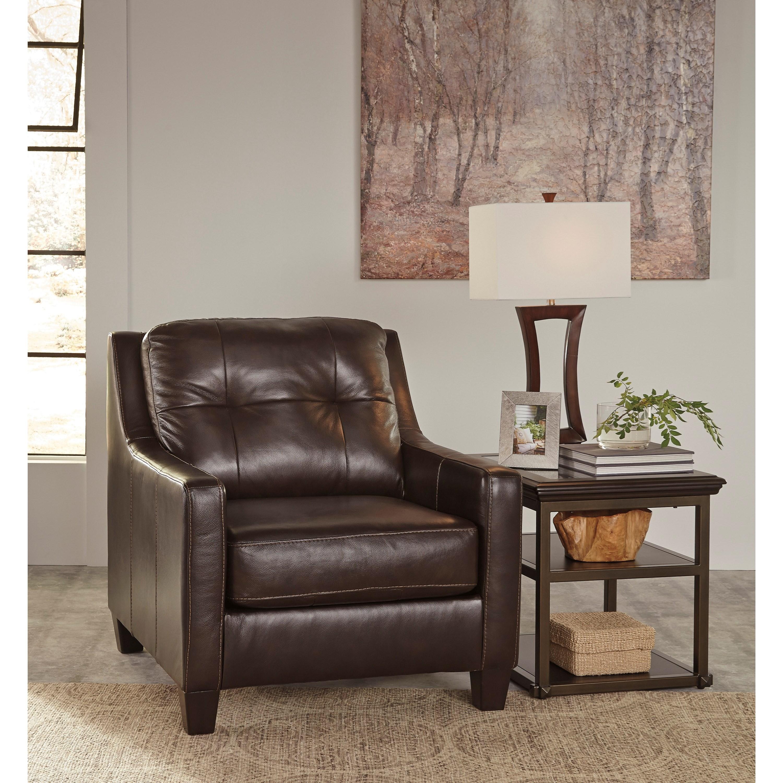 Signature Design By Ashley O 39 Kean Contemporary Leather Match Chair Ottoman John V Schultz