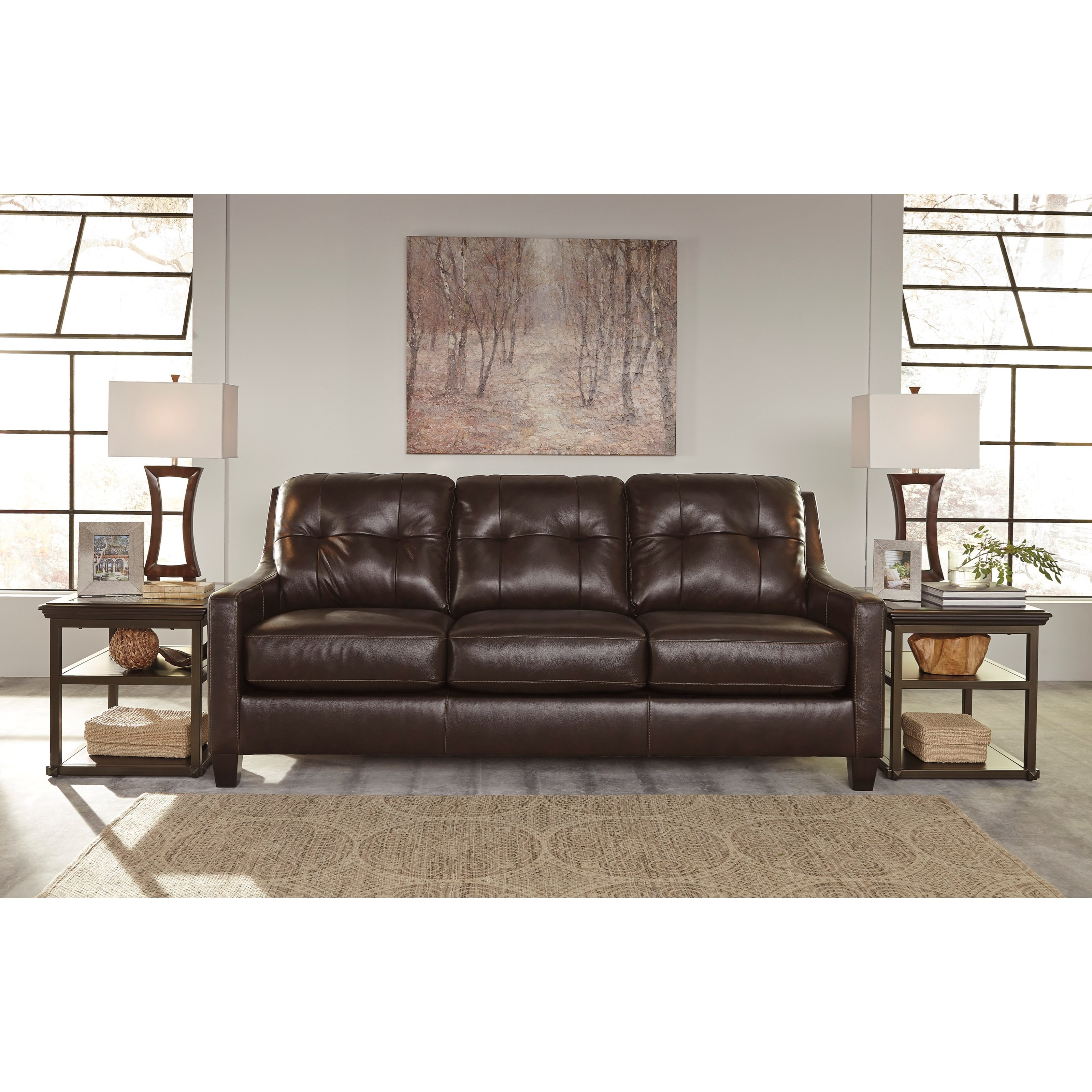 Signature Design By Ashley O 39 Kean 5910538 Contemporary Leather Match Sofa With Tufted Back