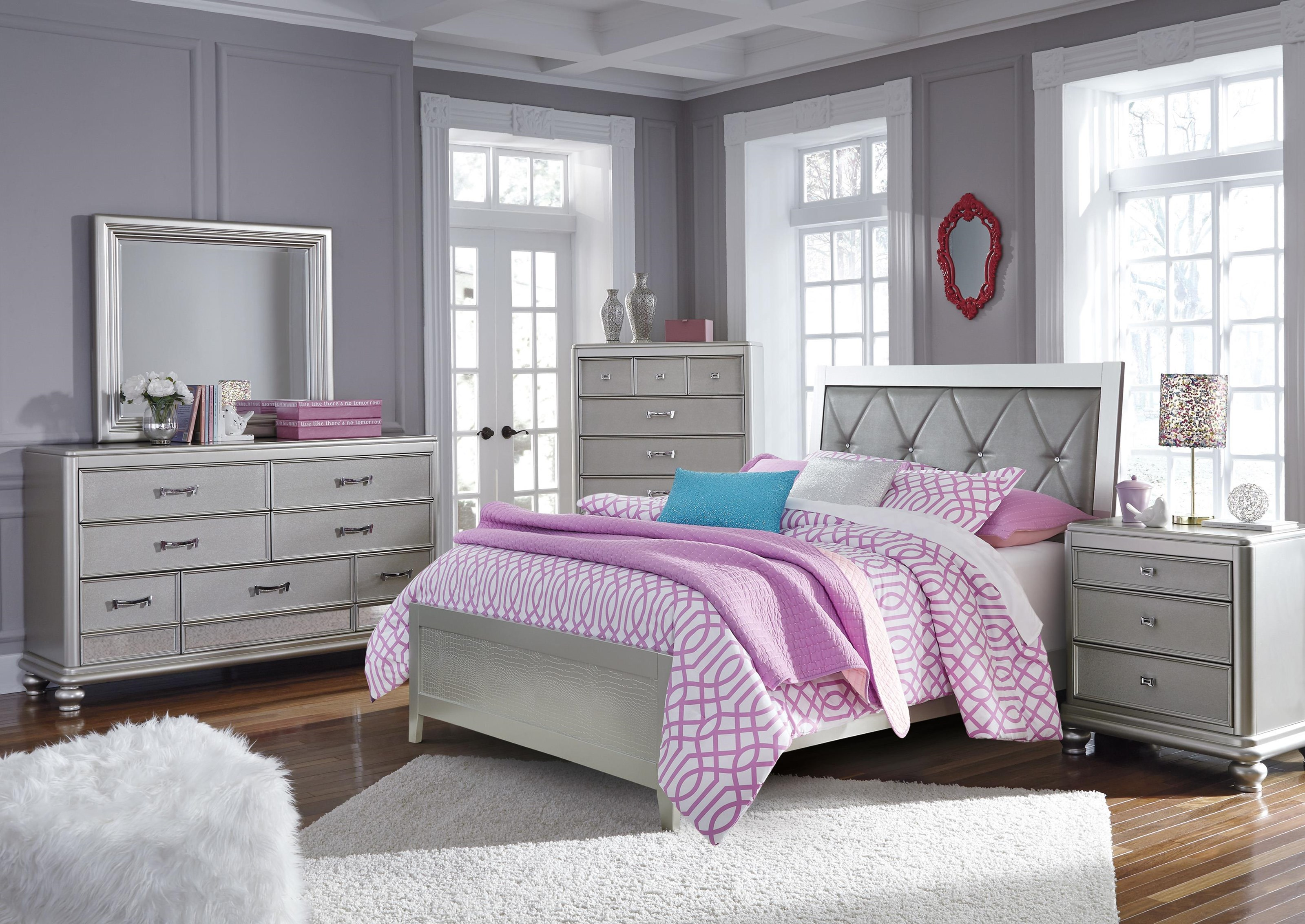 Signature Design By Ashley Olivet B560 55 86 92 46 Full Upholstered Panel Bed Nightstand And